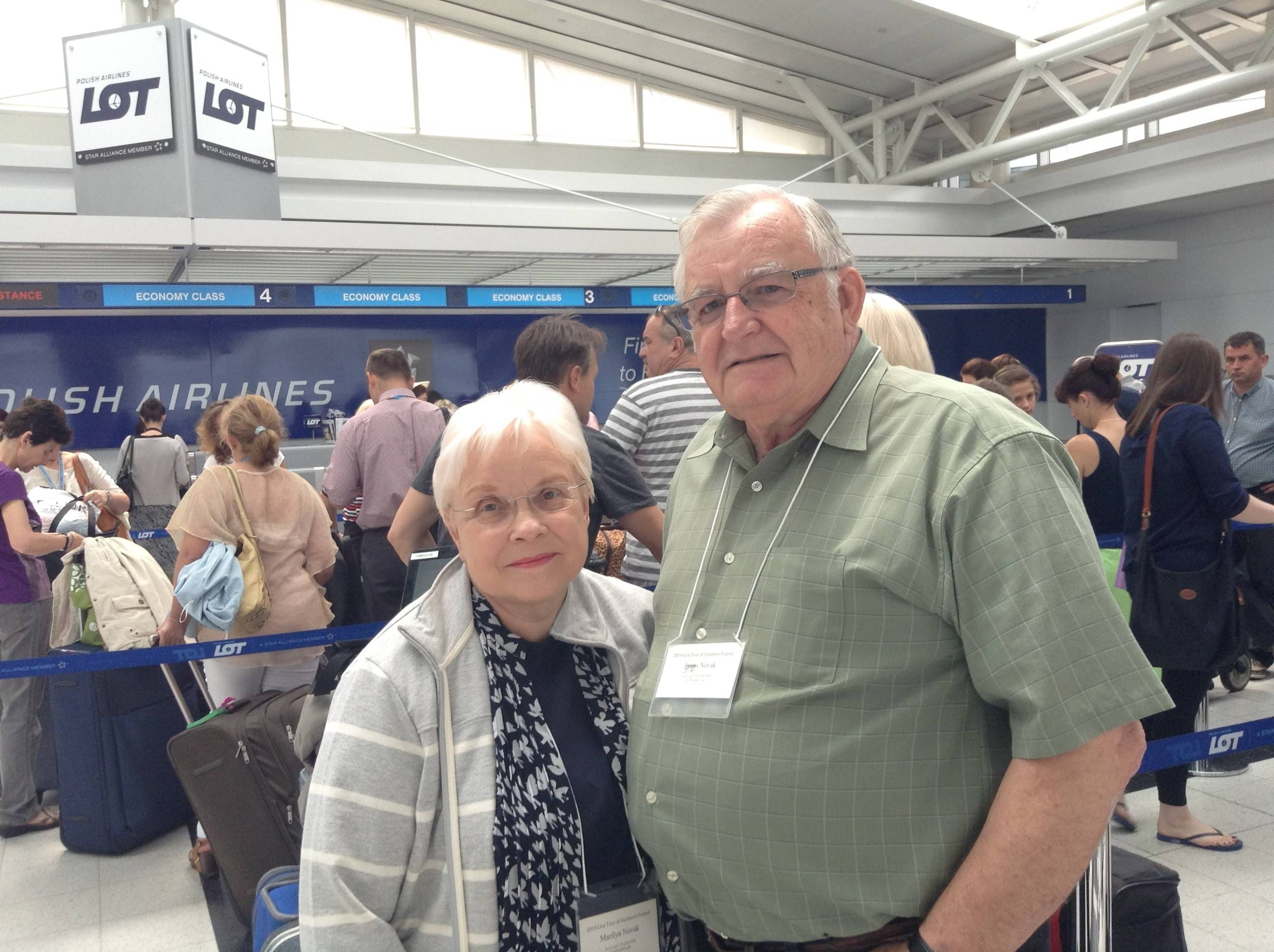 Jim and Marilyn Novak, formerly of Arlington Heights, called the crash of a Malaysia Airlines jetliner troubling but said they were not fearful about flying to Poland Thursday.