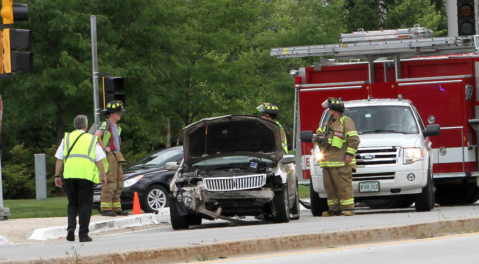 One man was seriously injured and two other people were hurt Thursday in a crash at Warrenville Road and Mill Street in Warrenville.