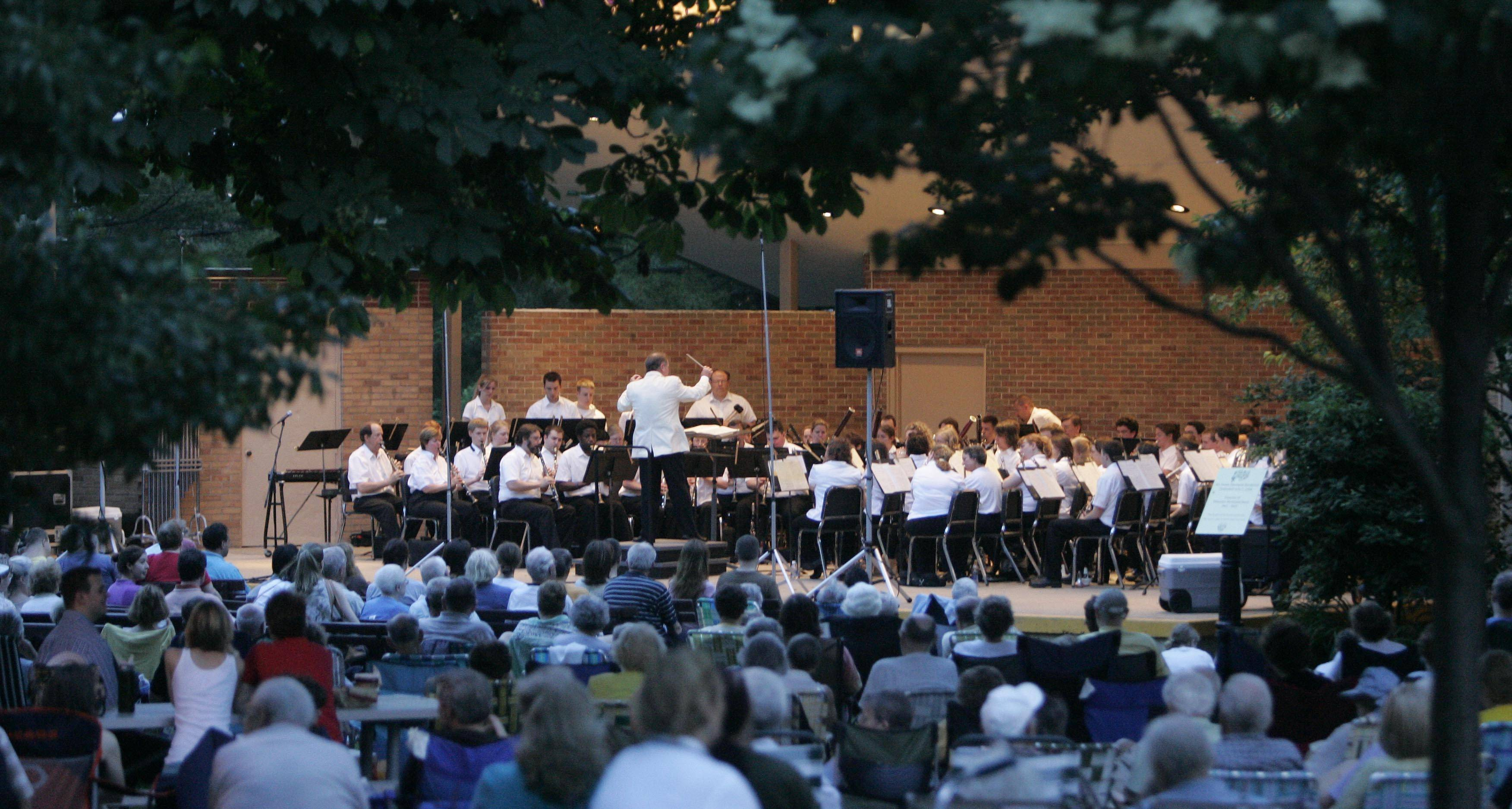 "The band shell in Wheaton's Memorial Park will welcome five varied performing bands during the Wheaton Band Festival. Kids in the audience also can check out an ""instrument petting zoo,"" where they can try to make their own music."