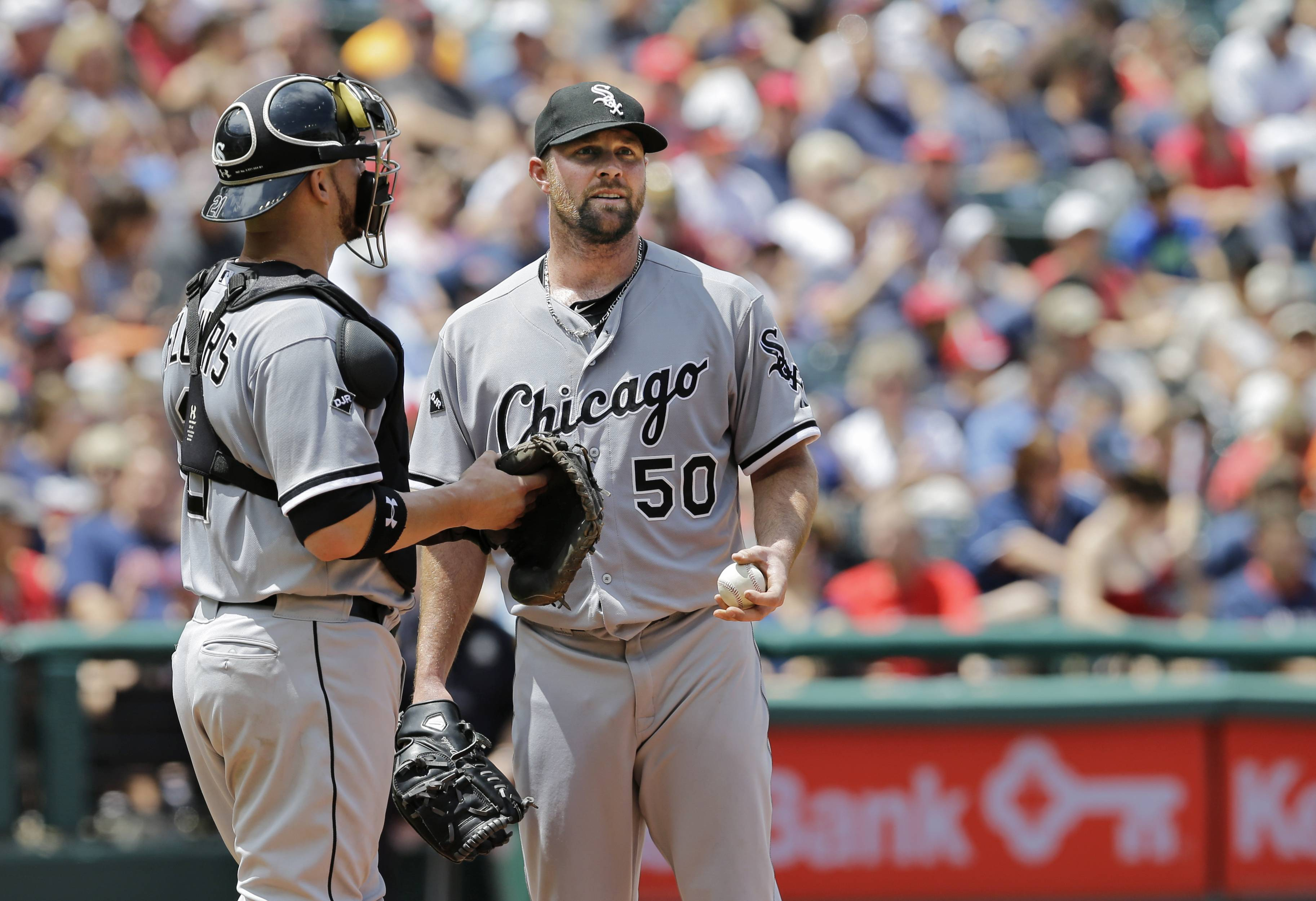 White Sox starting pitcher John Danks, talking to catcher Tyler Flowers, could be an attractive commodity for a team looking for a left-hander.