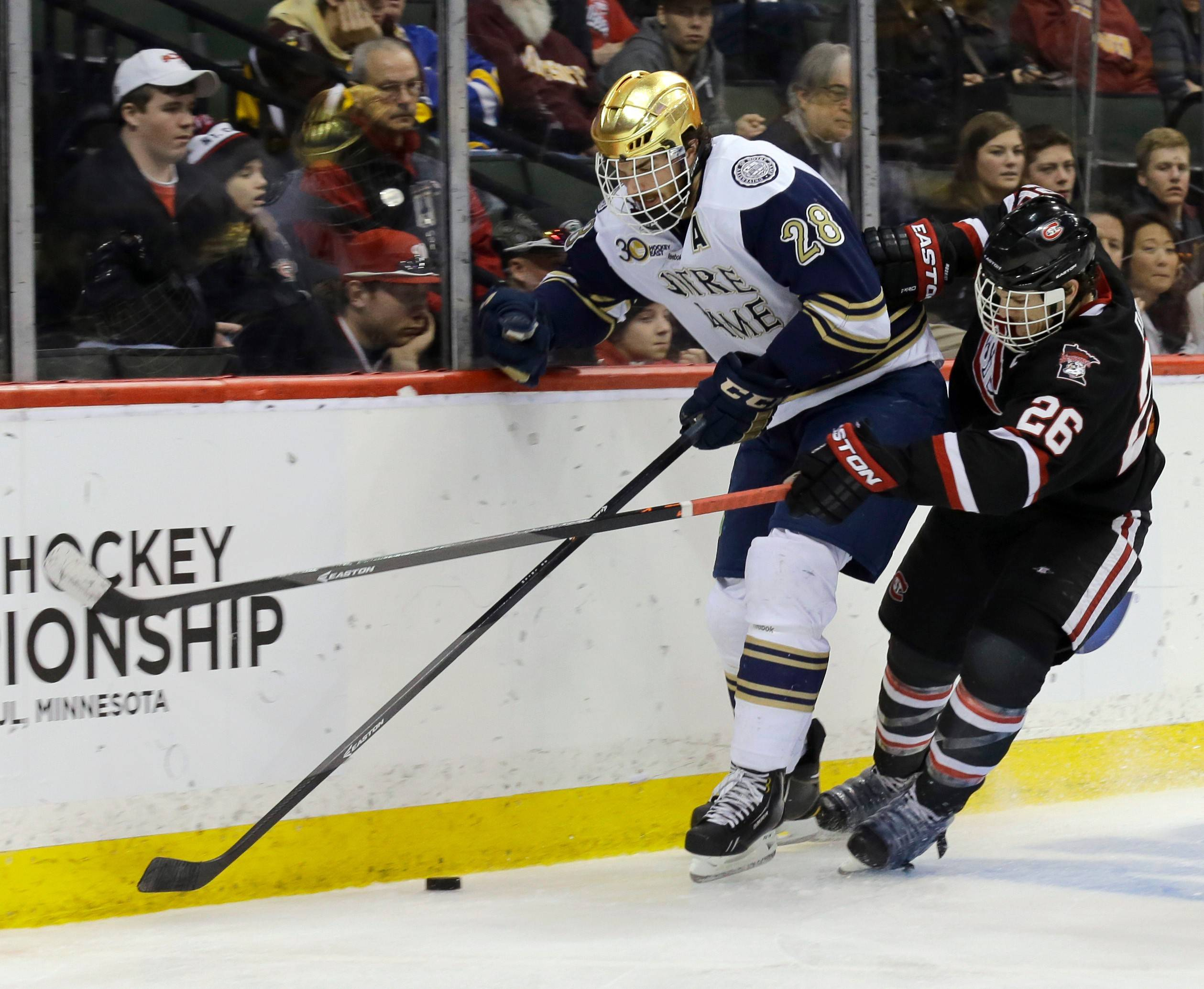 At Notre Dame, defenseman Stephen Johns (28) became a team captain his senior year and showed his leadership skills. The 22-year-old Blackhawks prospect played for Rockford after the college season concluded.