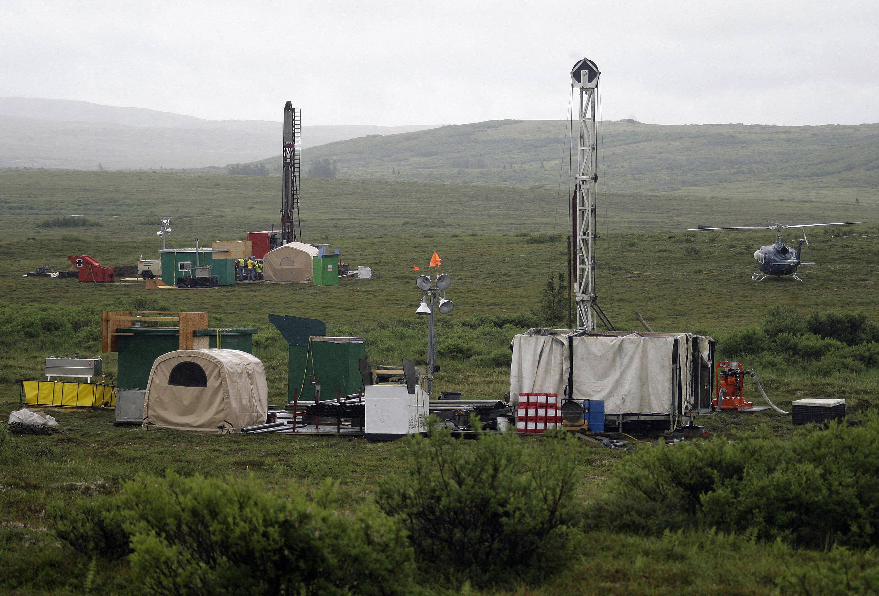 Workers with the Pebble Mine project test drill in the Bristol Bay region of Alaska near the village of Iliamma.