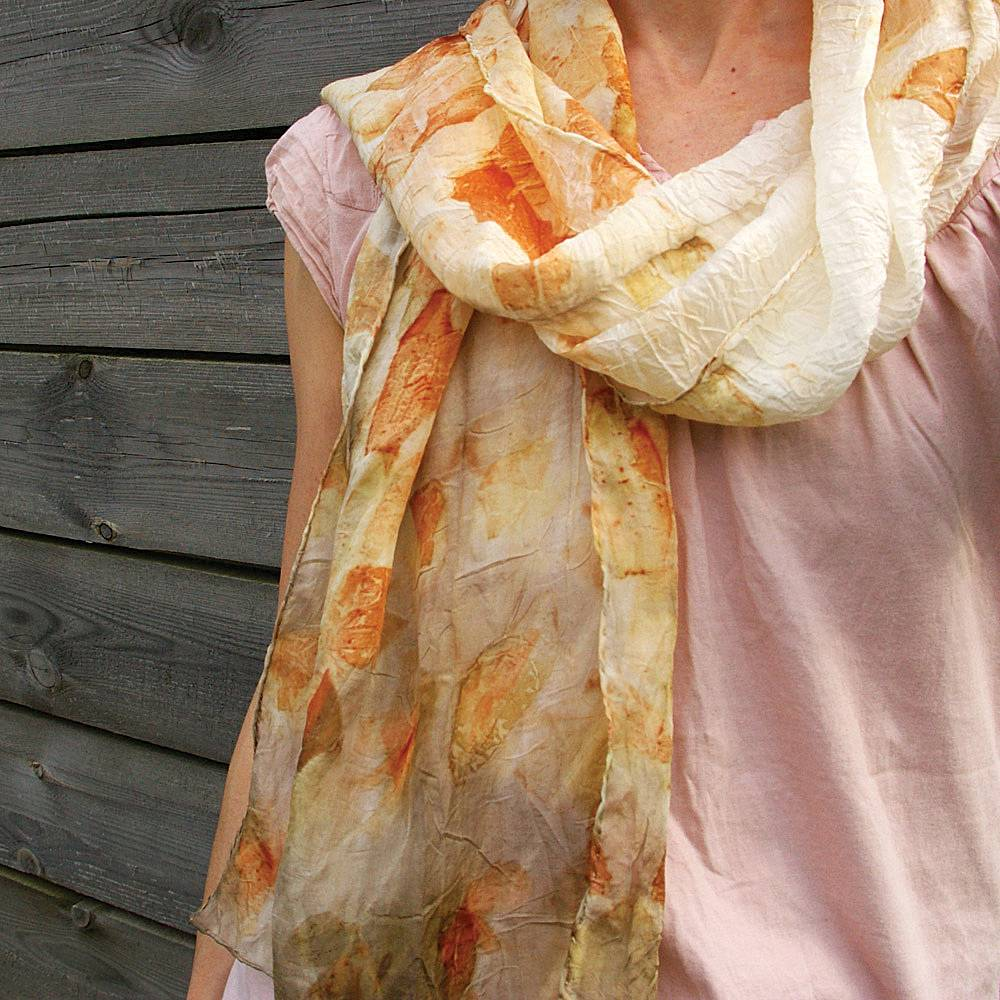 An eco dyed scarf becomes original, wearable art.