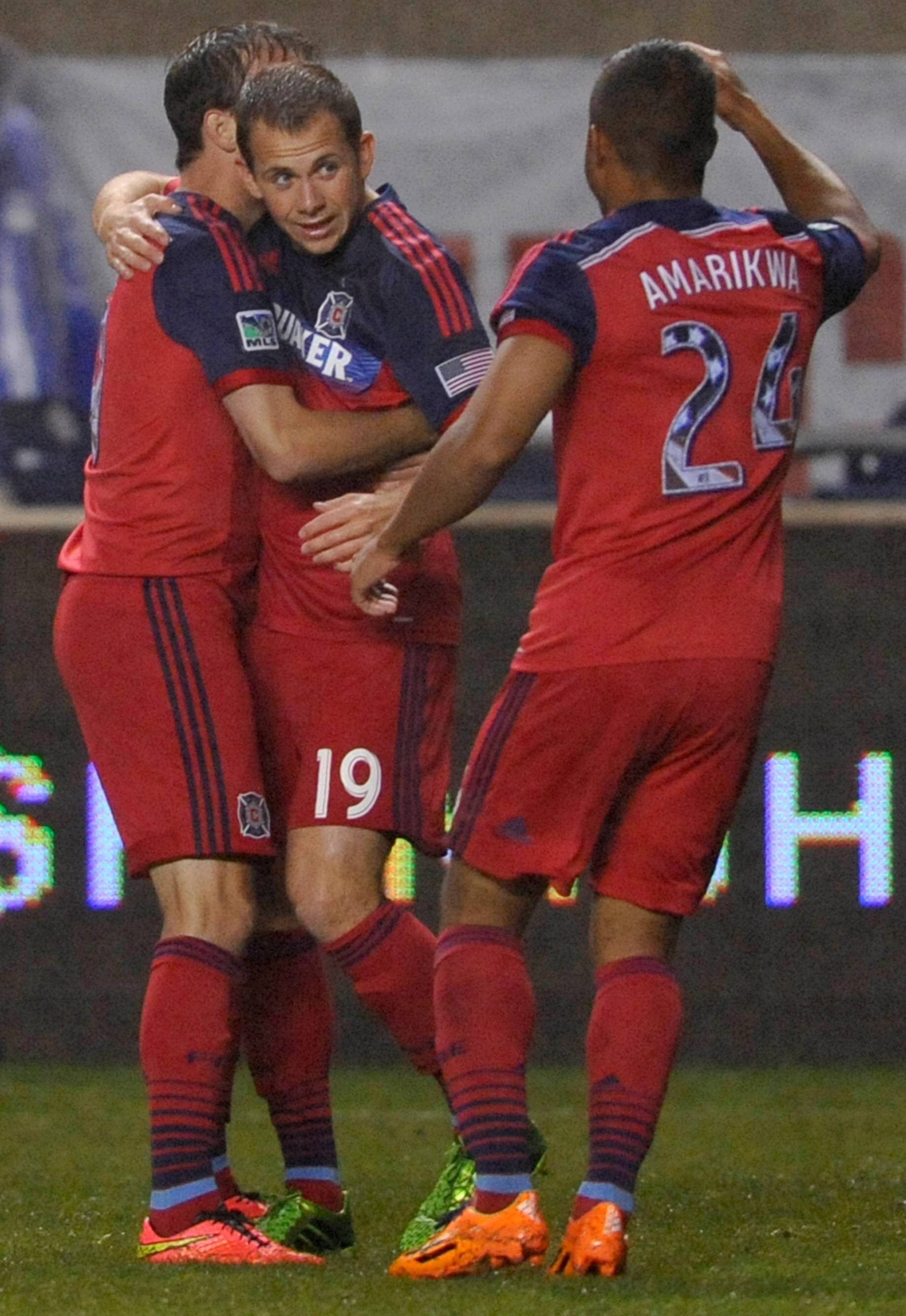 With the Fire's defense rounding into shape, a little more offensive scoring, led by Harry Shipp (19), Mike Magee, left, and Quincy Amarika (24), would boost the club's chances to earn a playoff spot this season.
