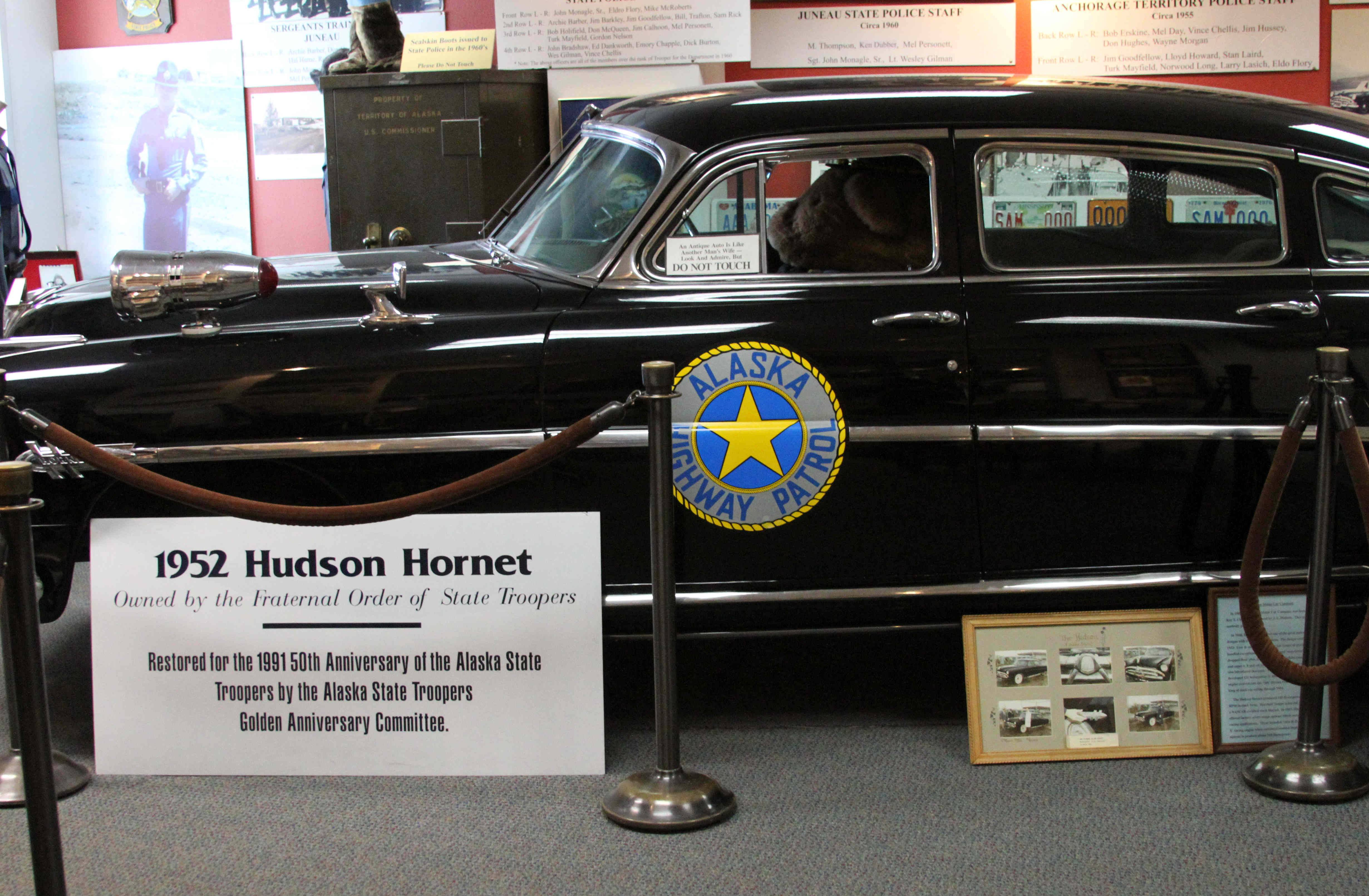 A restored 1952 Hudson Hornet is on display at the State Trooper Museum in downtown Anchorage, Alaska. The free museum offers a history of law enforcement in Alaska dating back to territorial days.