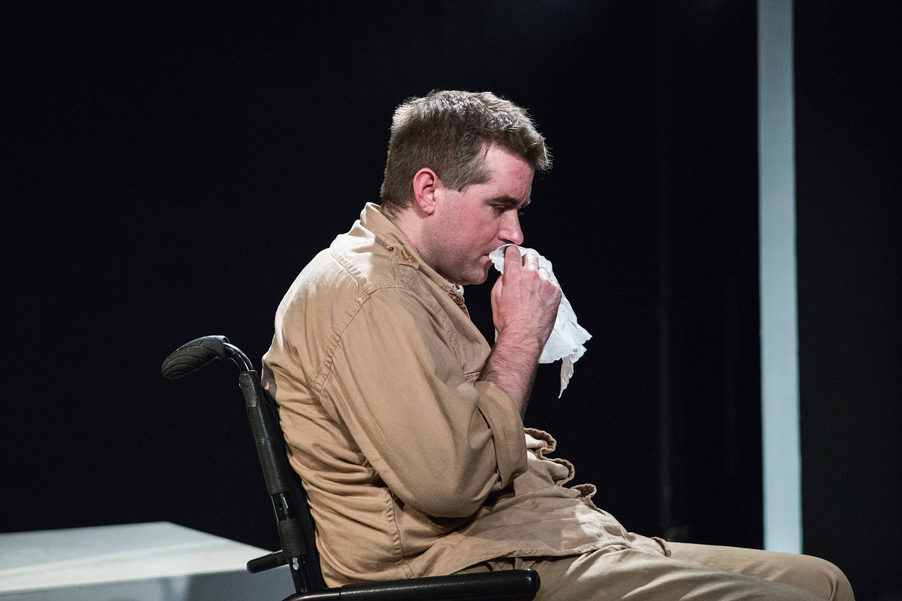 "Villainous Iago (Michael Patrick Thornton) ponders his schemes in Gift Theatre's ""Othello,"" the company's first Shakespeare play in its 13-year history."
