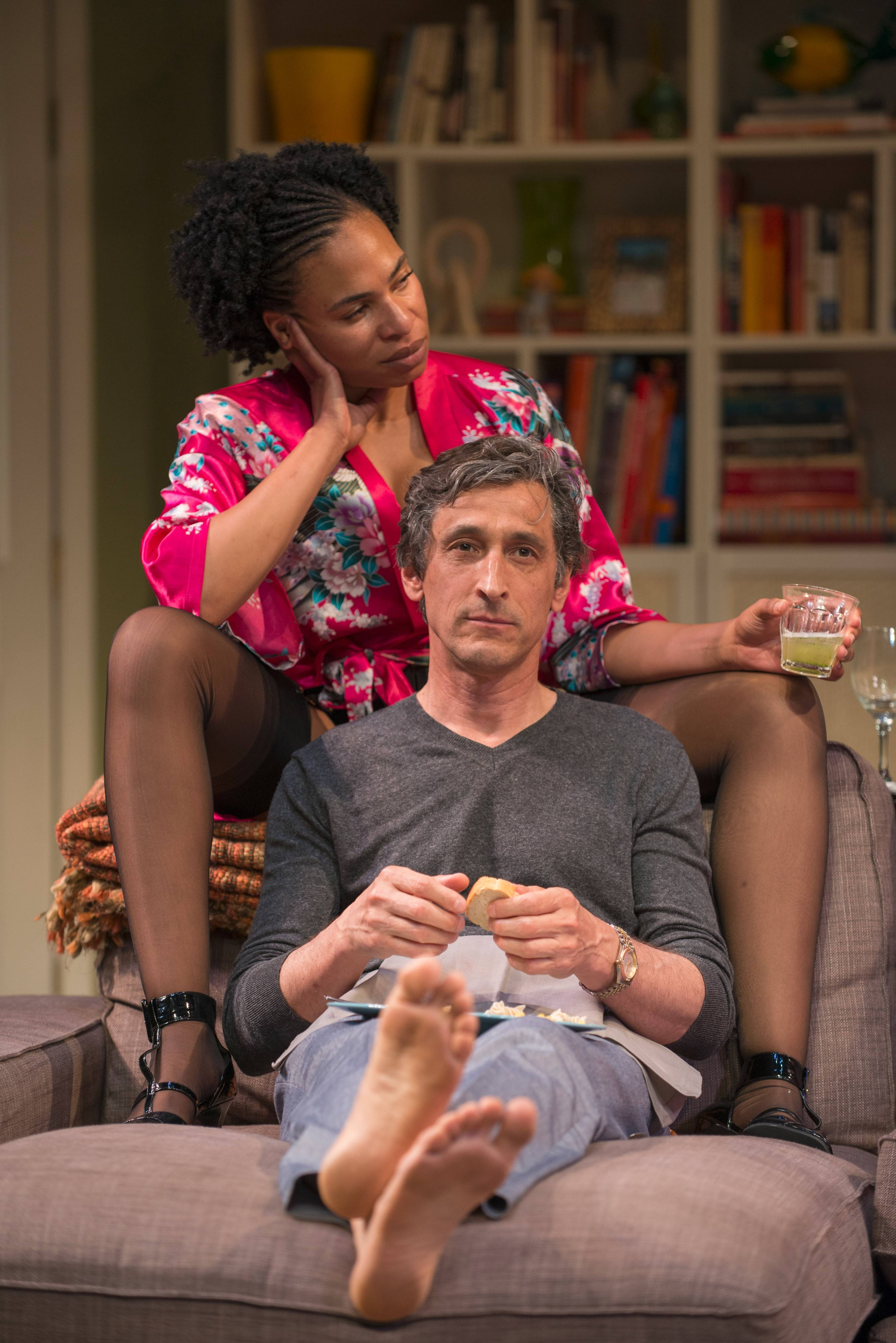 "Regine (Karen Aldridge) and her boyfriend, Roger (David Pasquesi), are unhappy about the turn of events at a suburban swingers party in the world premiere of Bruce Norris' ""The Qualms"" at Steppenwolf Theatre."