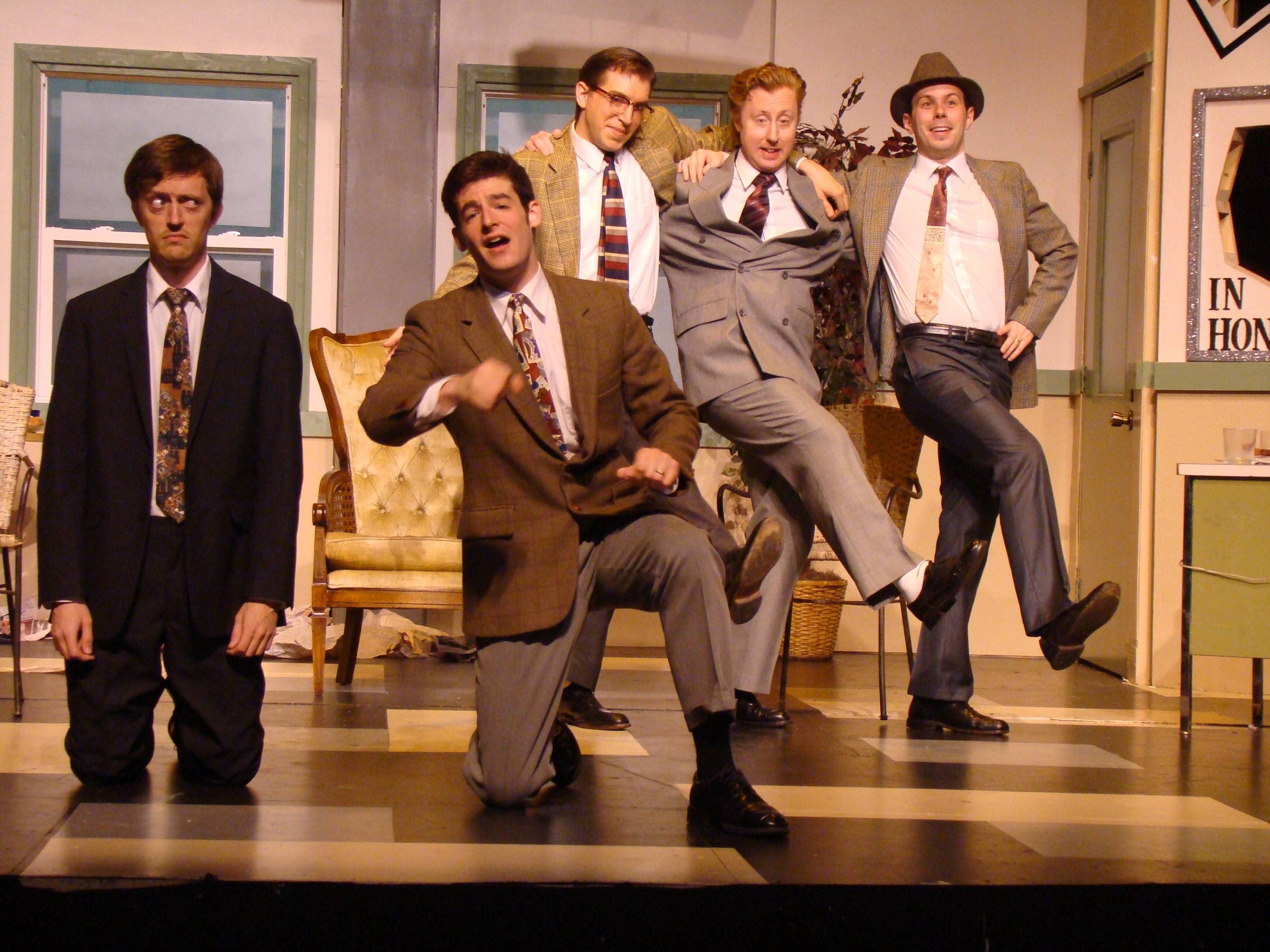 "TV star Max Prince (Michael Wood, left) is unsure about an interpolated Gershwin song in his Julius Caesar comedy sketch suggested by the writers Ira Stone (Charlie Wein), Kenny Franks (Scott Edward Mills), Val Slotsky (Andrew J. Pond) and Brian Doyle (Alex Levin) in Eclectic Full Contact Theatre's Chicago production of Neil Simon's 1993 Broadway comedy ""Laughter on the 23rd Floor,"" which has been remounted and restaged for the Metropolis Performing Arts Centre in Arlington Heights."