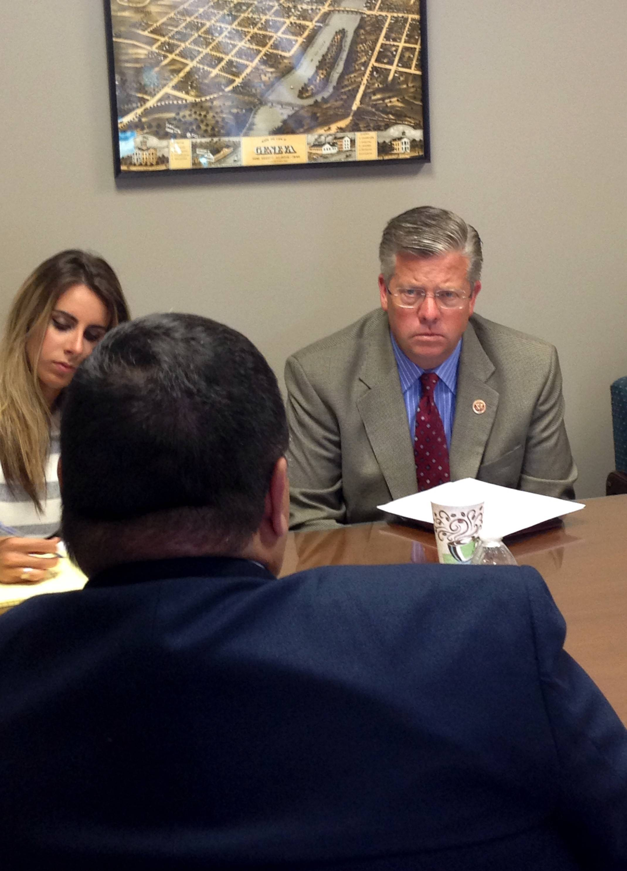 Congressman Randy Hultgren faced off with local military veterans groups and benefits providers at his Geneva district office on Friday. Hultgren had pointed questions about a backlog in benefits claims for Tona Vela, veterans service center manager of the Chicago Regional Benefits office of Veterans Affairs.