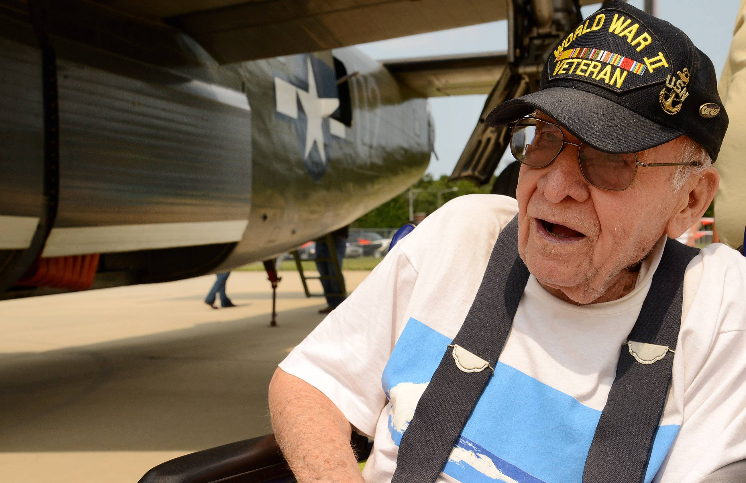 Joseph Houska, 92, of River Grove, worked on aircraft like the B-24 Liberator during World War II. The Collings Foundation's Wings of Freedom tour flew the rare plane to Chicago Executive Airport in Wheeling Friday.
