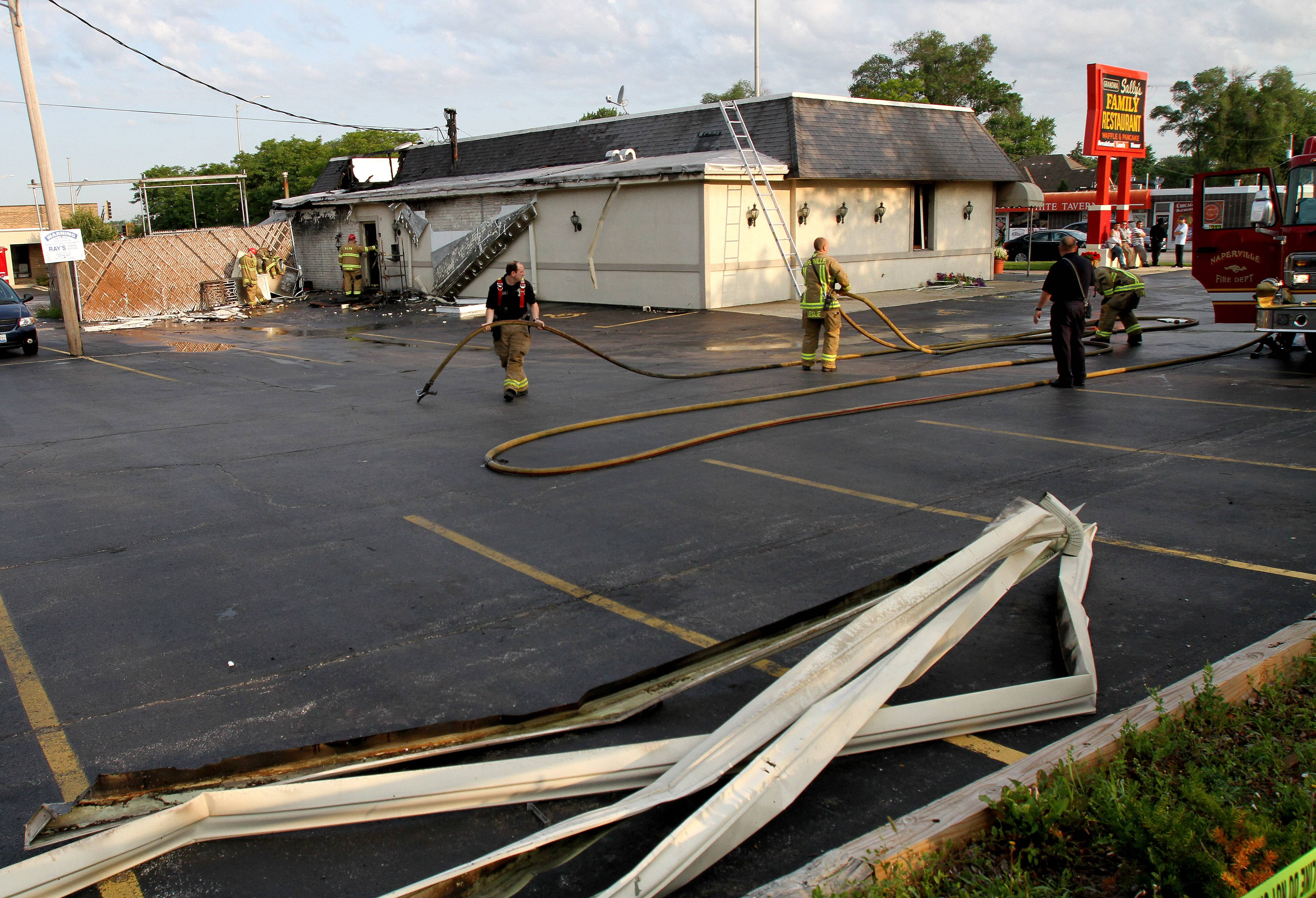 An early morning fire caused extensive damage Friday to Grandma Sally's Family Restaurant on Ogden Avenue in Naperville. Authorities estimated the damage near $400,000.