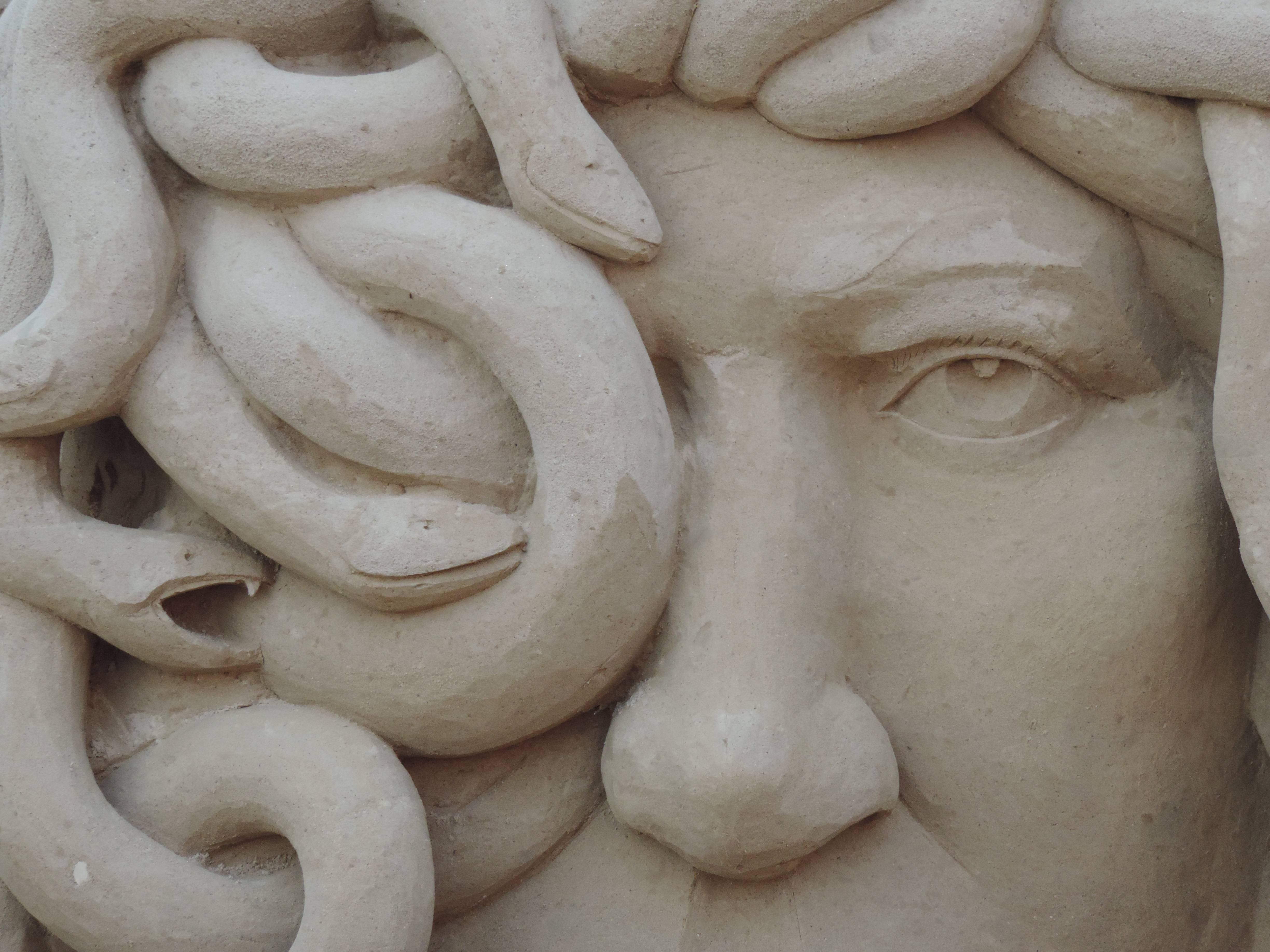 This was a sand sculpture of Medusa from River Fest a few weeks ago. I thought the texture of the sand and all of the lines of the snakes made for a great shot!