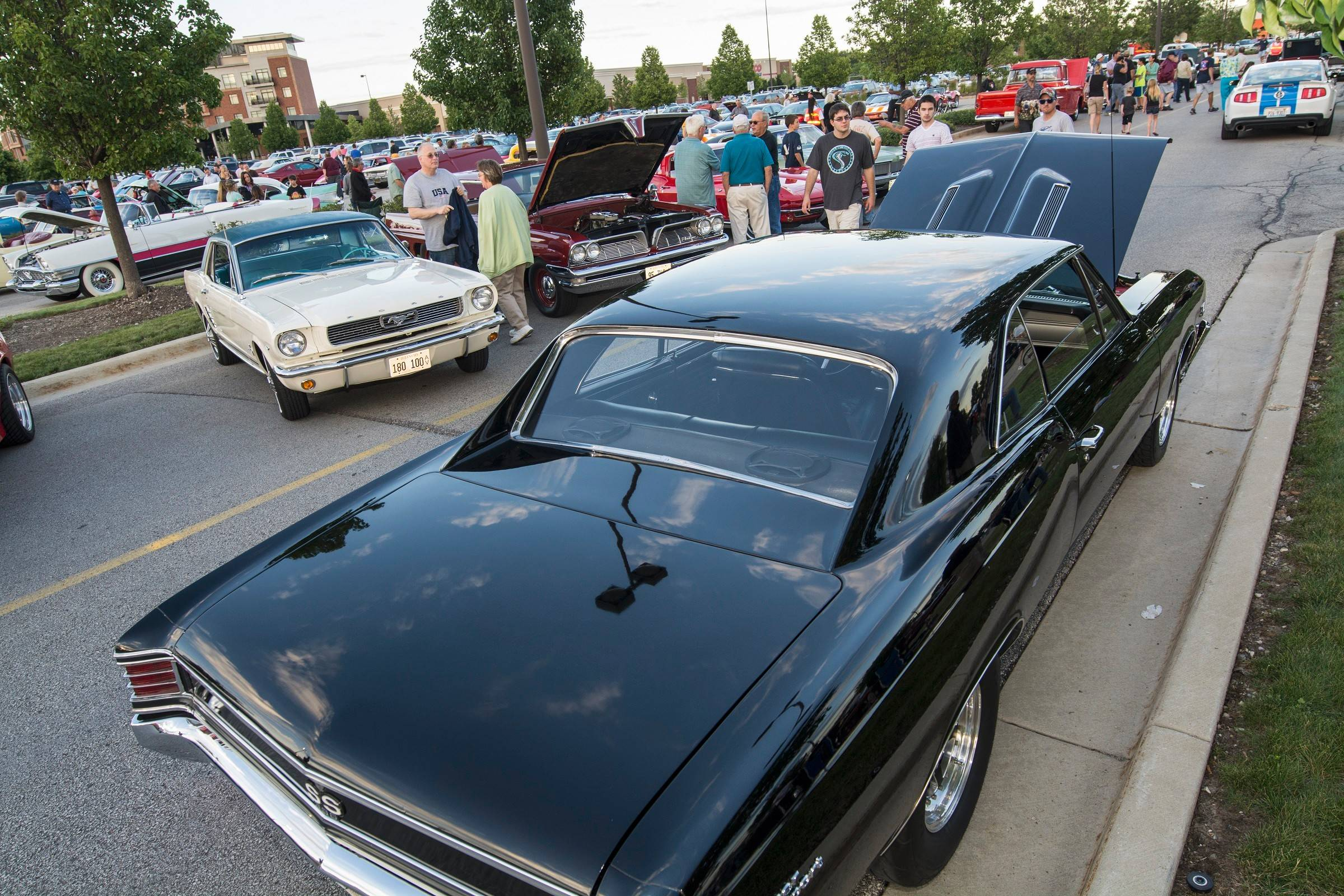 Mark Young of Streamwood brought his race-worthy Chevy to the Randhurst Village Cruise Night.