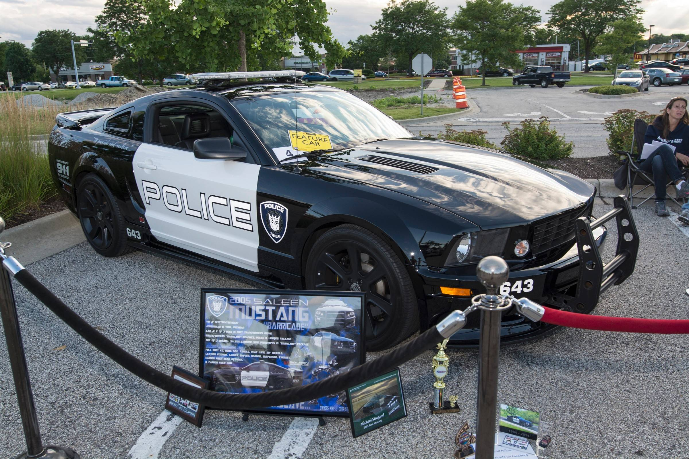 """Barricade,"" one of three 2005 Ford Mustang Saleen's used in filming the first ""Transformers"" movie, is now owned by Mike Stragand of Plainfield."