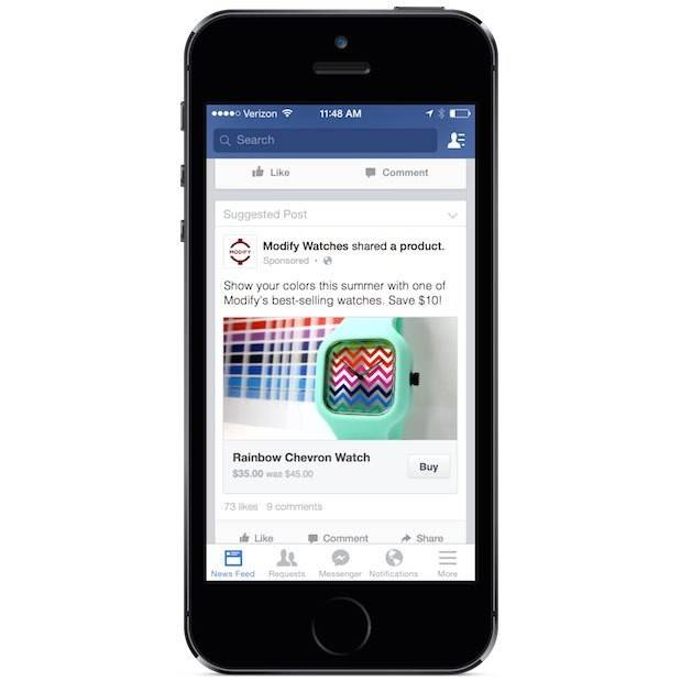 "Facebook is putting a button on its site that will let people buy products directly from businesses without leaving Facebook. A ""Buy"" button appears at the bottom of sponsored ads and is being tested by a limited group of several small- and medium-sized U.S. businesses."
