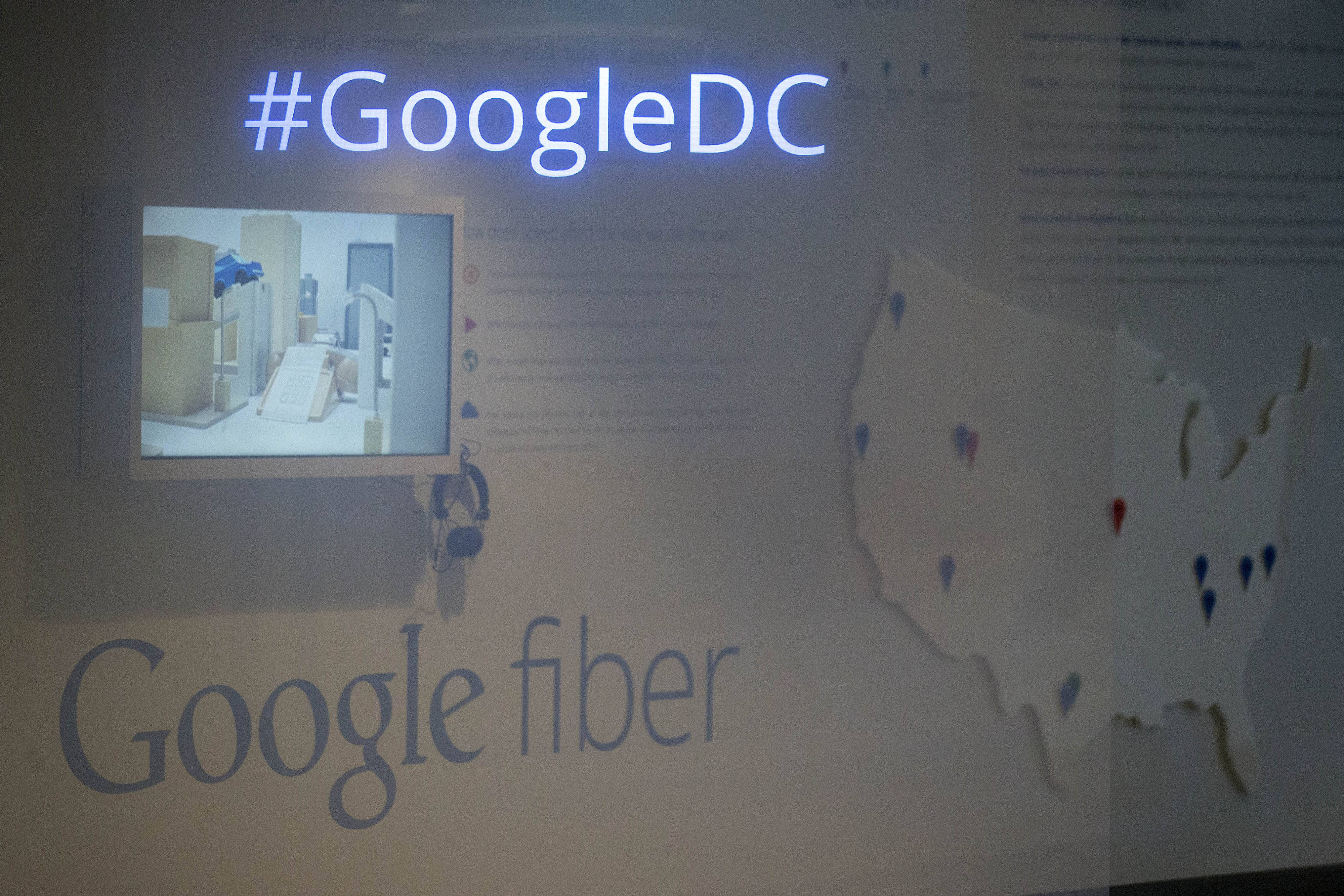 A #GoogleDC sign and Google Inc. Fiber signage is displayed at the Google Inc. office in Washington, D.C.
