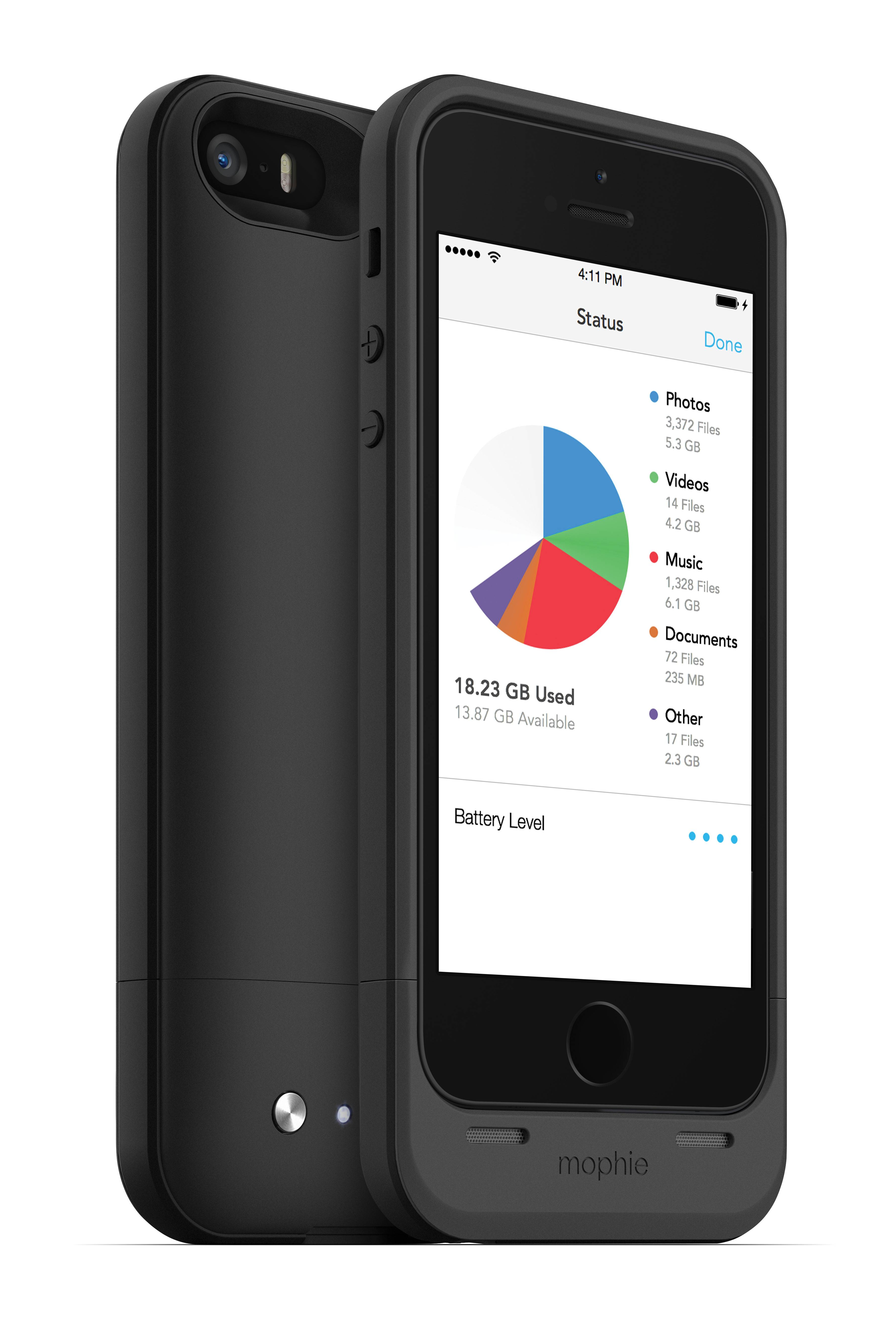 This product image provided by Mophie shows the Mophie Space Pack for the iPhone. The Space Pack doubles battery life and gives you an additional 16 or 32 gigabytes of storage. It also serves as a phone case, albeit a heavy and bulky one because it needs to fit a battery and memory.