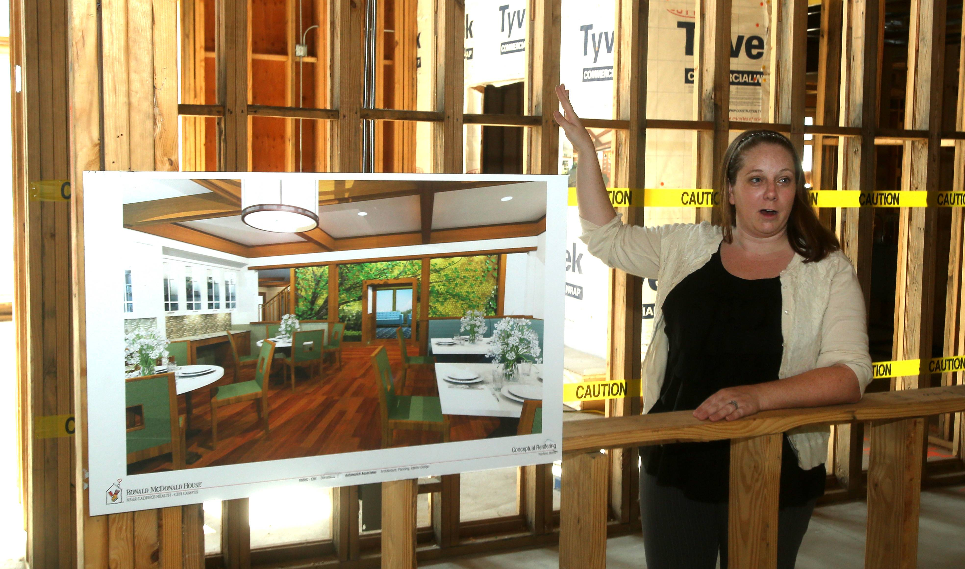 Katie Allabough, house director of the Ronald McDonald House across from Central DuPage Hospital in Winfield, talks about the construction, which will be completed by Feb. 14.
