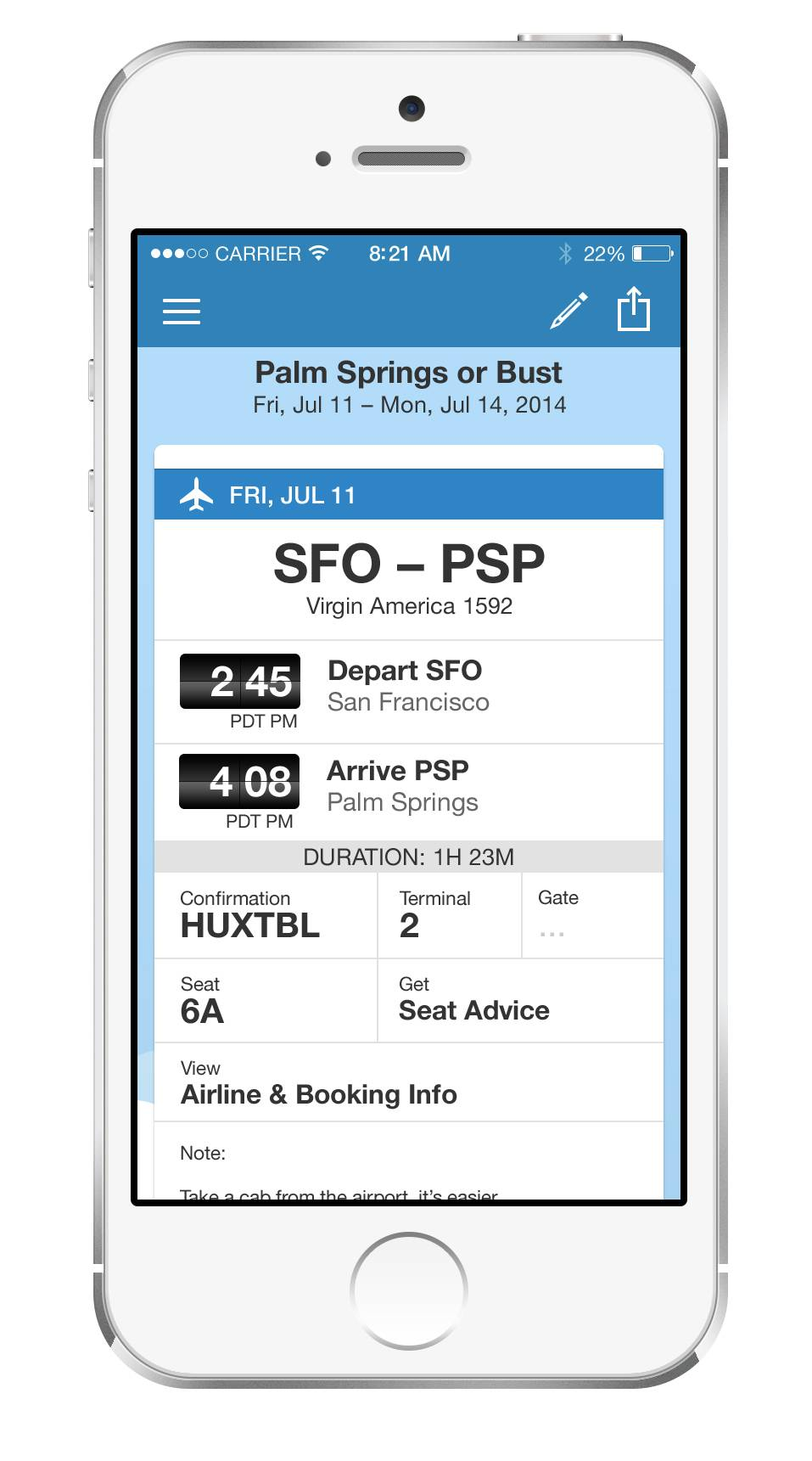 This product image provided by TripIt shows the TripIt app for iPhone. TripIt automatically creates a day-by-day travel itinerary based on all the flight, hotel and other confirmation emails that you forward to a given TripIt address.