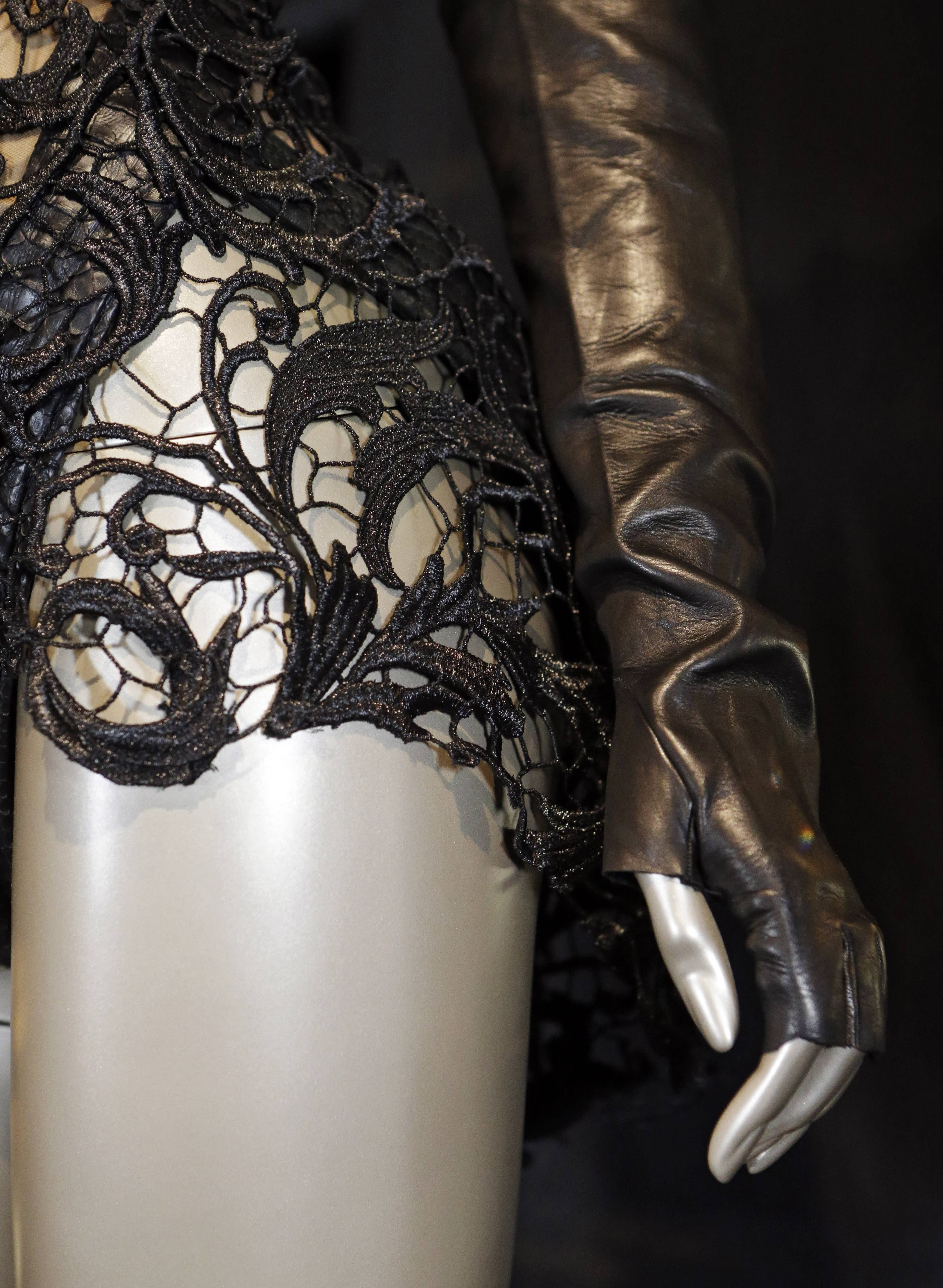 A detail from Beyonce's 2013 Super Bowl performance outfit is displayed in a new exhibit at the Rock and Roll Hall of Fame in Cleveland.