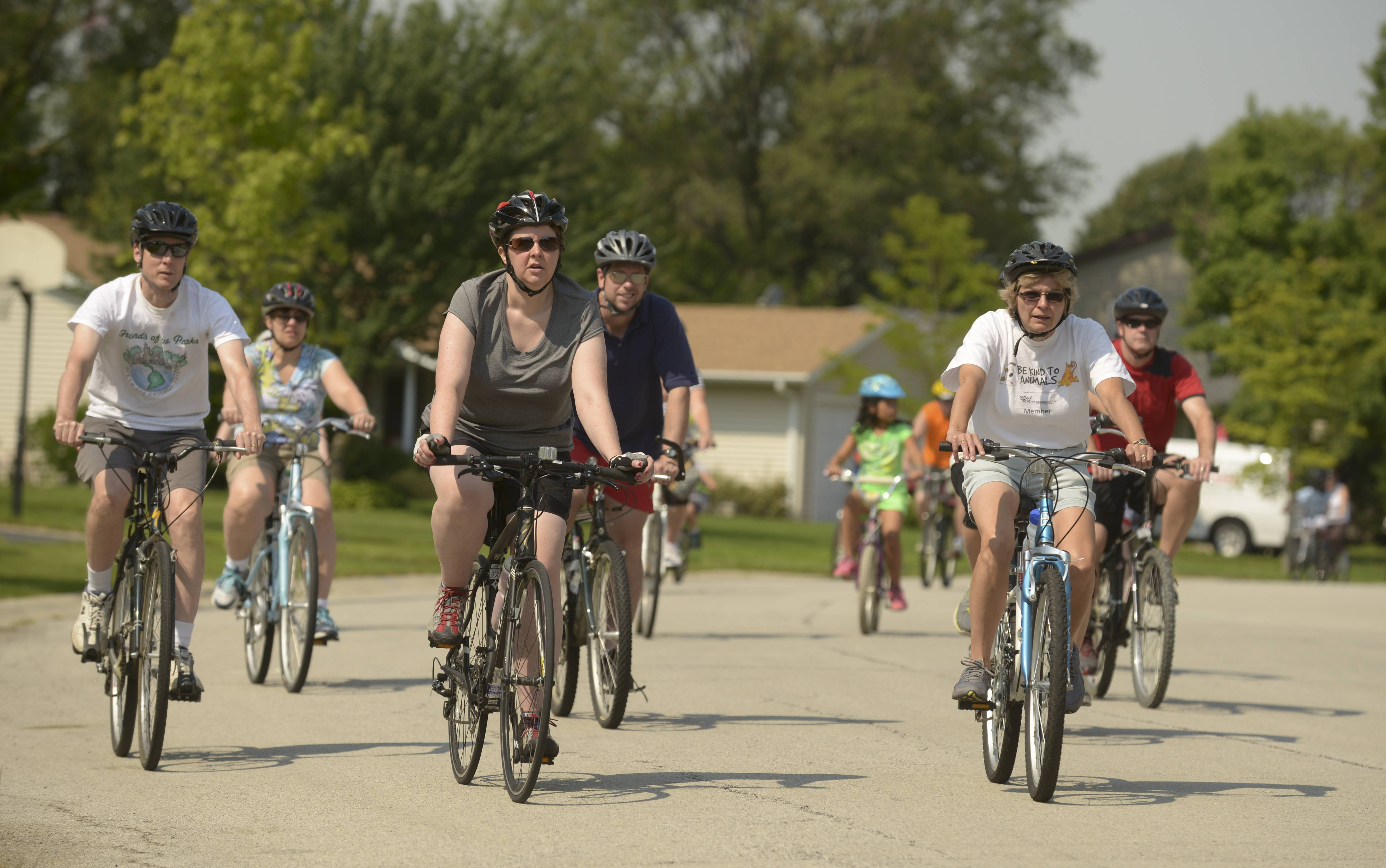 Cyclists participate in the annual Ride with the Mayor event Saturday in Elk Grove Village, heading out on the five-mile ride to help encourage biking in the village.