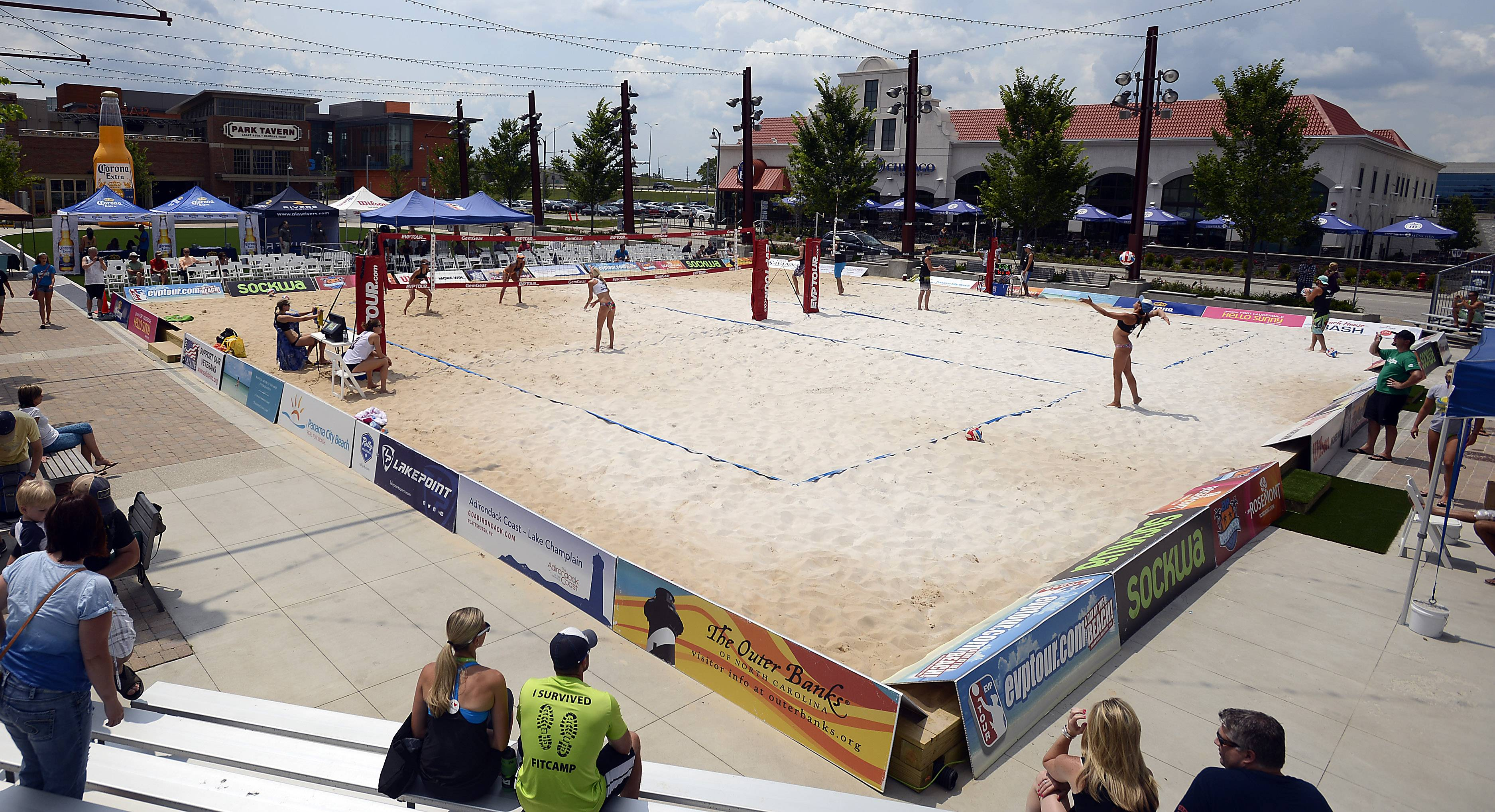The EVP Rocks Rosemont professional beach volleyball tournament started Friday and continues today at MB Financial Park.