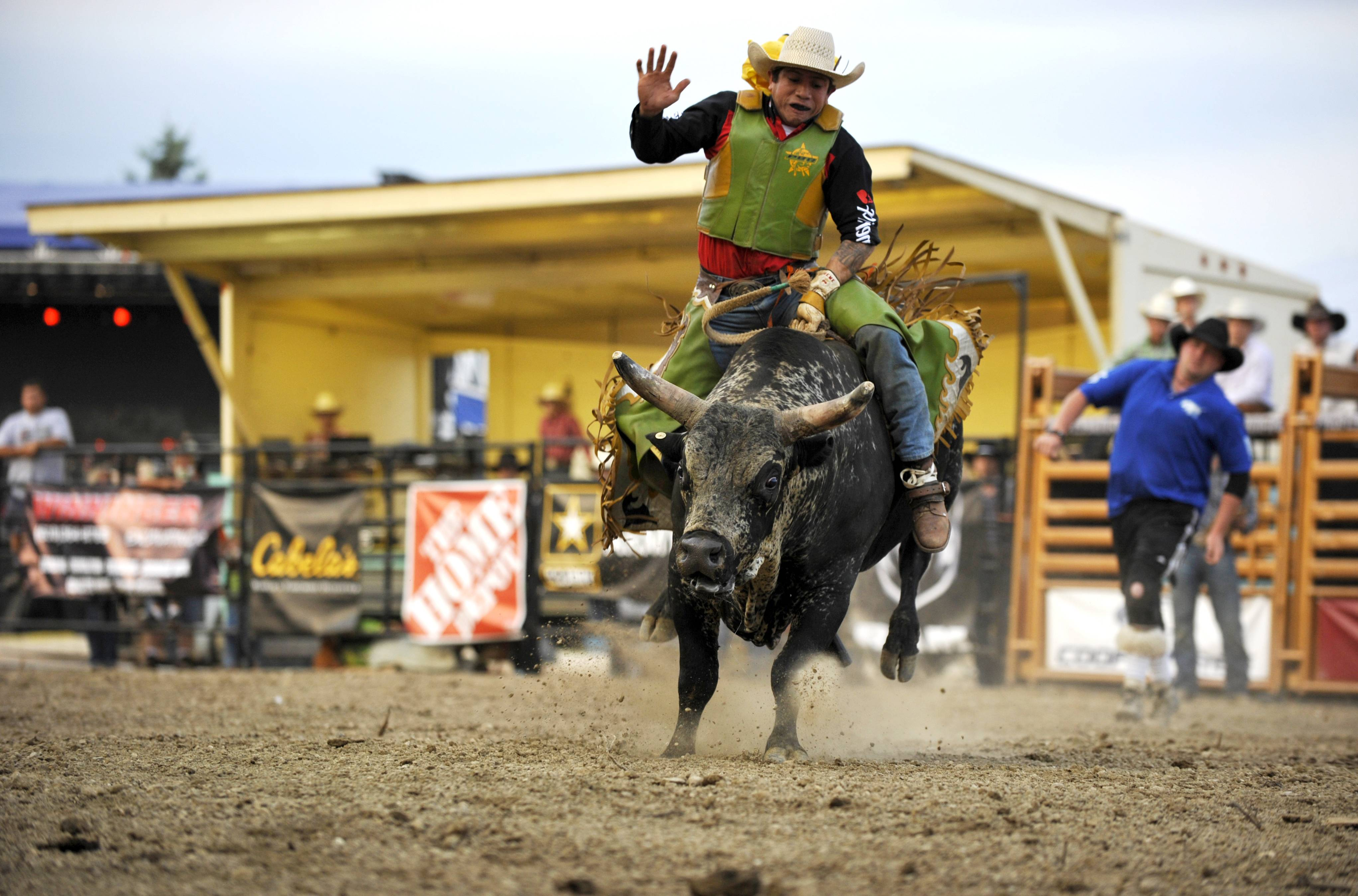 Brooke Herbert Hayes/bhayes@dailyherald.comOsman Alvarez of Charlotte, North Carolina, tries to ride for the required eight seconds during the Professional Championship Bullriding at the Kane County Fair at the Fairgrounds in St. Charles on Friday. Alvarez is originally from Nicaragua and competes as a bullrider all over the U.S.