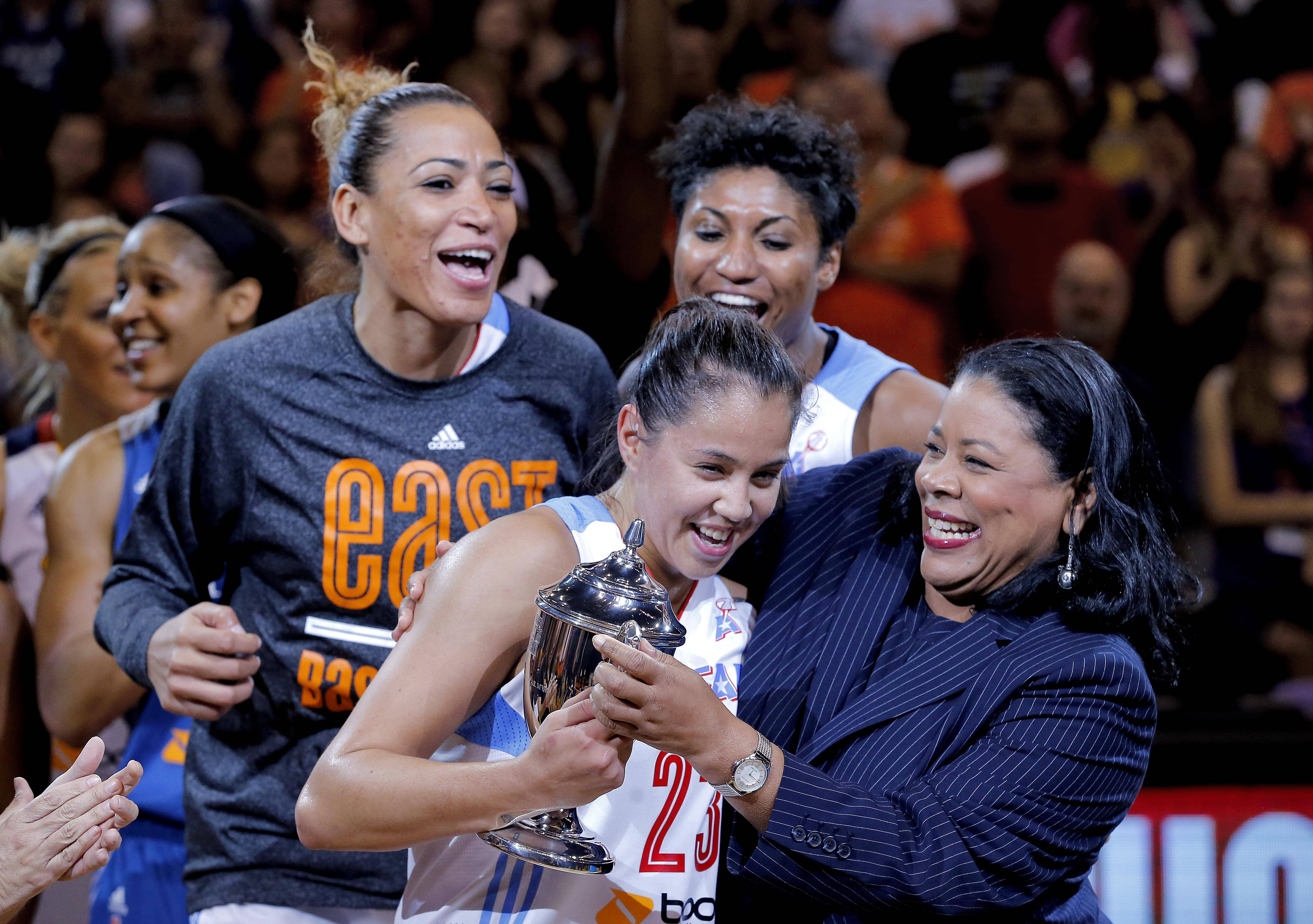 East's Shoni Schimmel, of the Atlanta Dream, is presented the MVP trophy by WNBA President Laurel J. Richie, right, after the WNBA All-Star basketball game Saturday in Phoenix. The East won 125-124 in overtime.