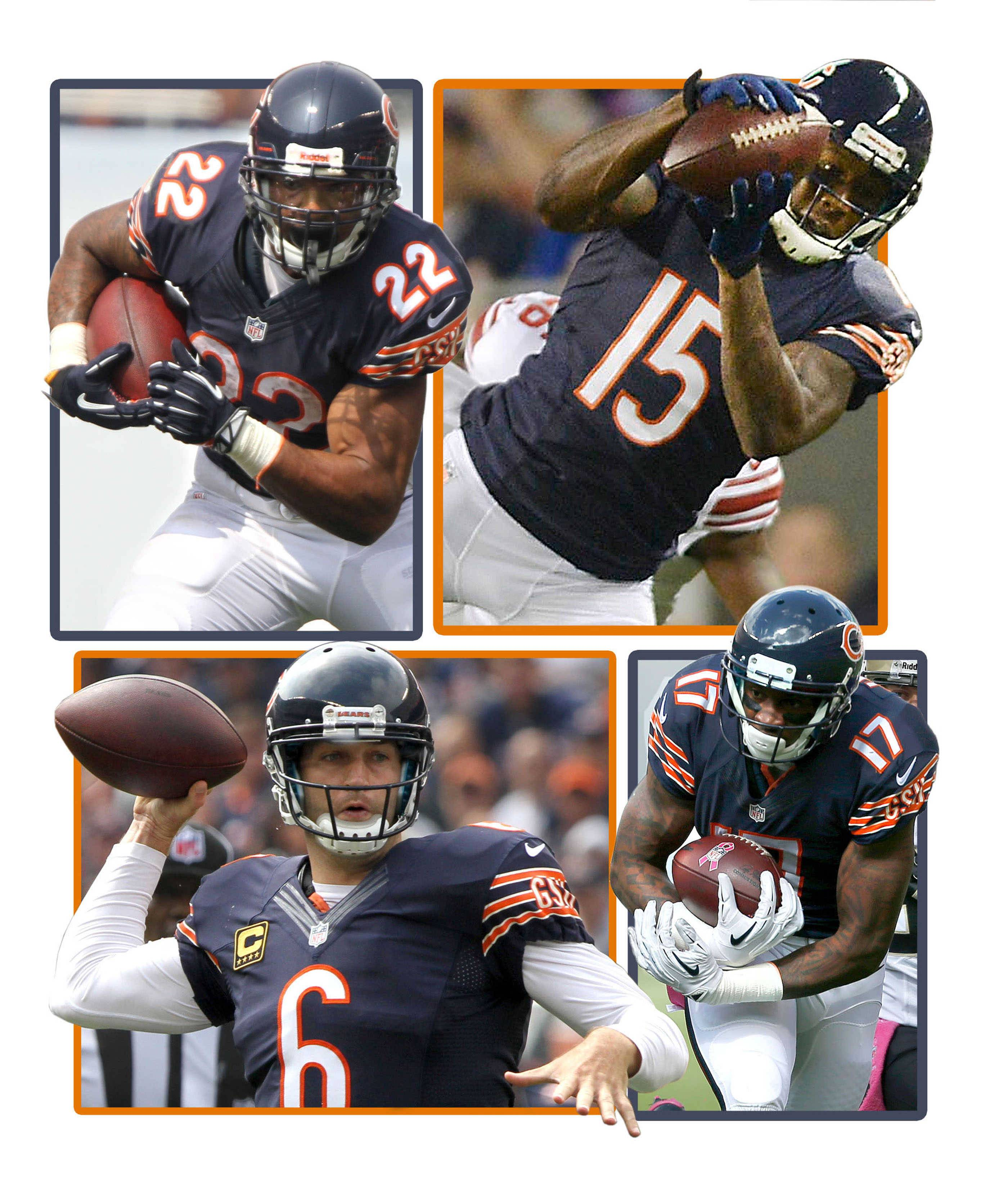 Clockwise from upper left, Matt Forte, Brandon Marshall, Alshon Jeffery, and Jay Cutler are some key pieces of the Bears offense for 2014, but the high-powered offense also must answer some important questions in training camp.
