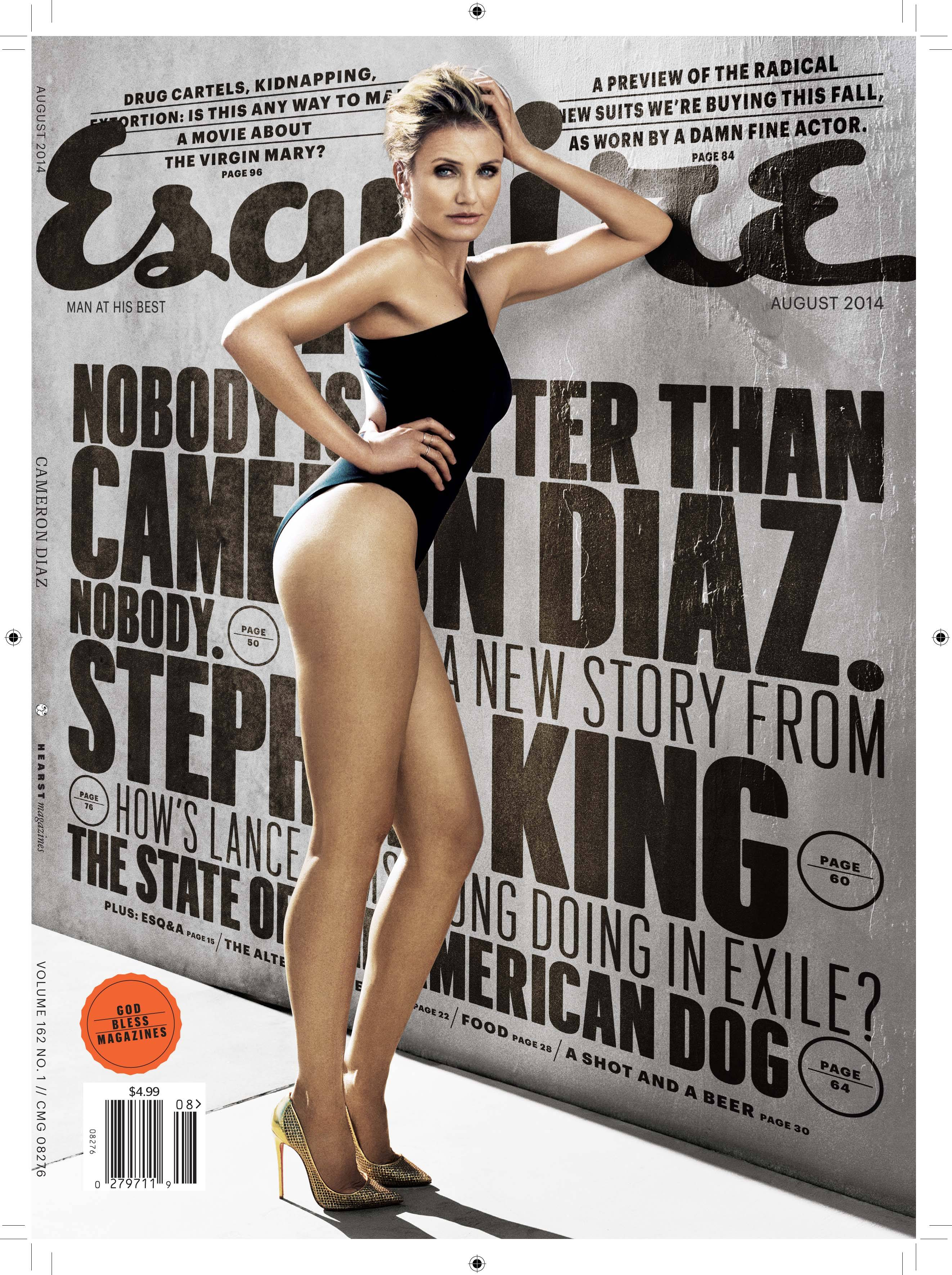 Cameron Diaz graces the cover of the August issue of Esquire magazine.