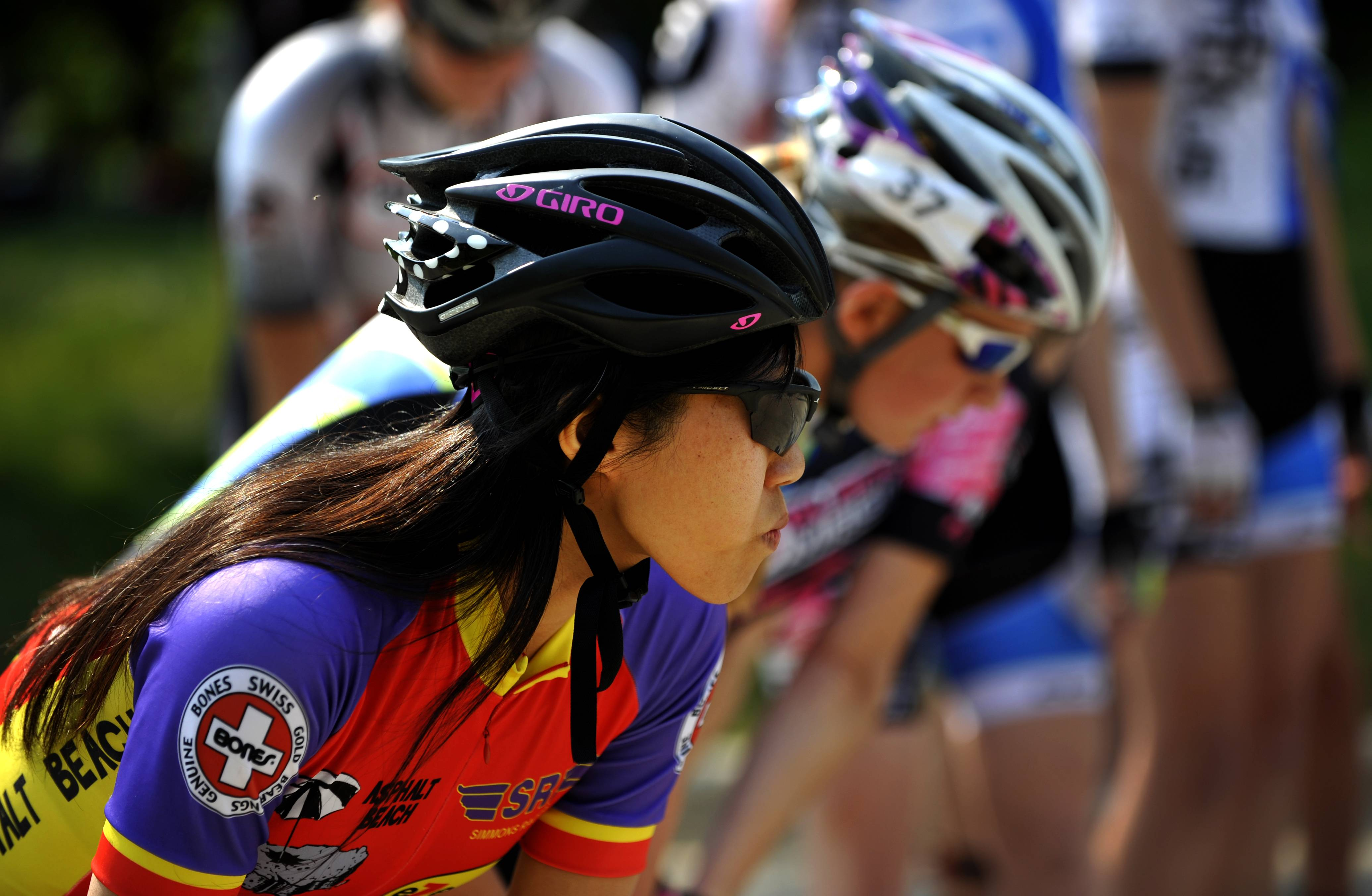 "Candy Wong of Ontario, Canada, prepares for the start of the women's elite marathon on Sunday at the Alexian Brothers Fitness for America Sports Festival in Hoffman Estates. Sunday's races were organized into recreational and elite categories with participants completing a 10k, half marathon or full marathon. Organizer Peter Starykowicz of Hoffman Estates says ""position is most important"" for marathon skaters who rely on drafts from the other skaters."