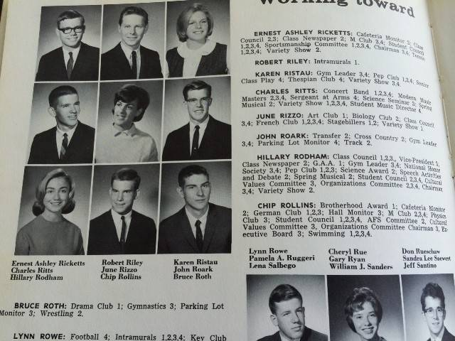 "That Maine South High School senior in the lower left was ""pretty attractive,"" says classmate Gary Koca, who had one date with her. Koca went on to a career with the federal government, and so did his date, Hillary Rodham."