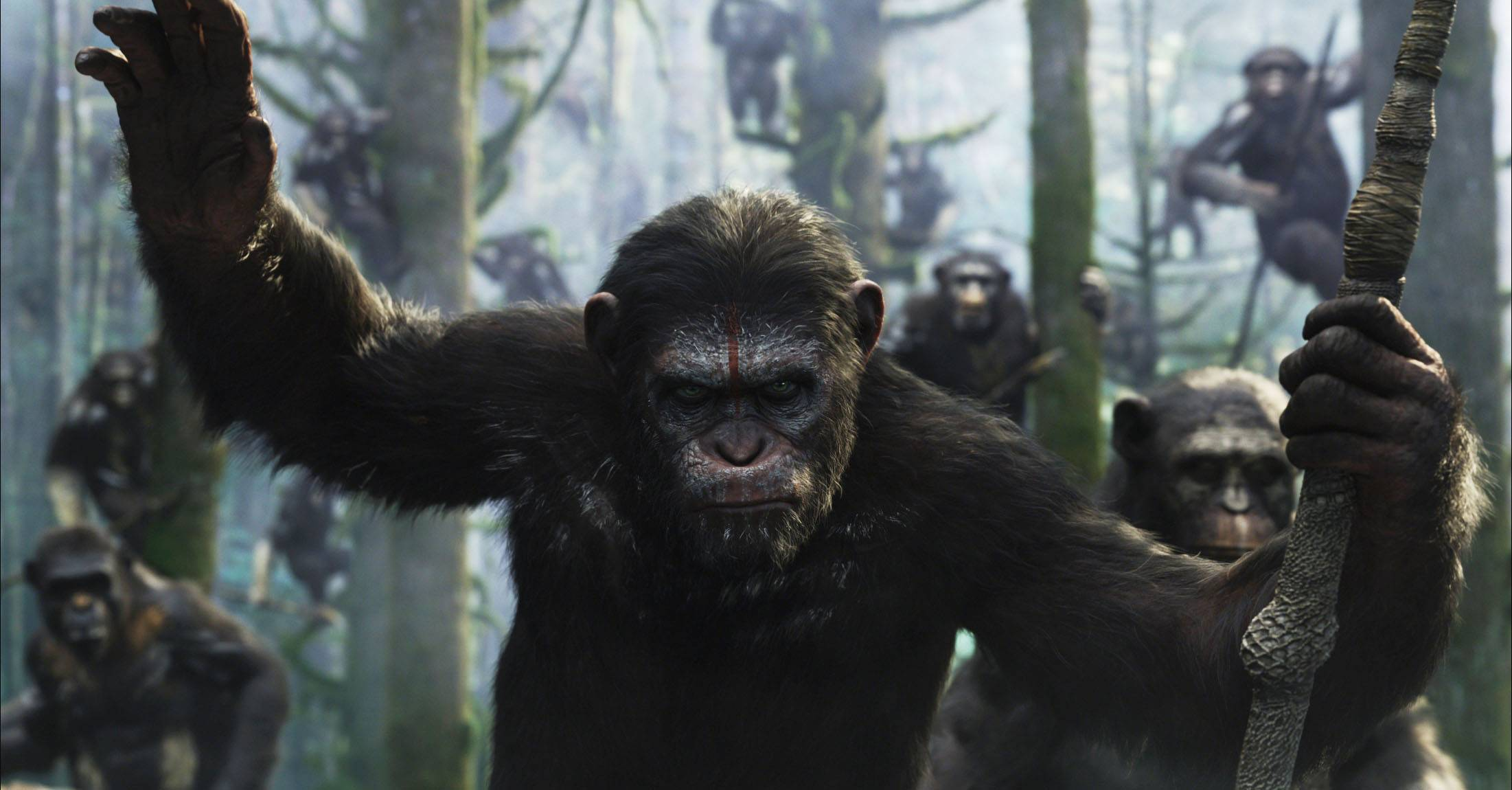 "In the sequel ""Dawn of the Planet of the Apes,"" Caesar's followers go on the offensive against newly discovered humans."