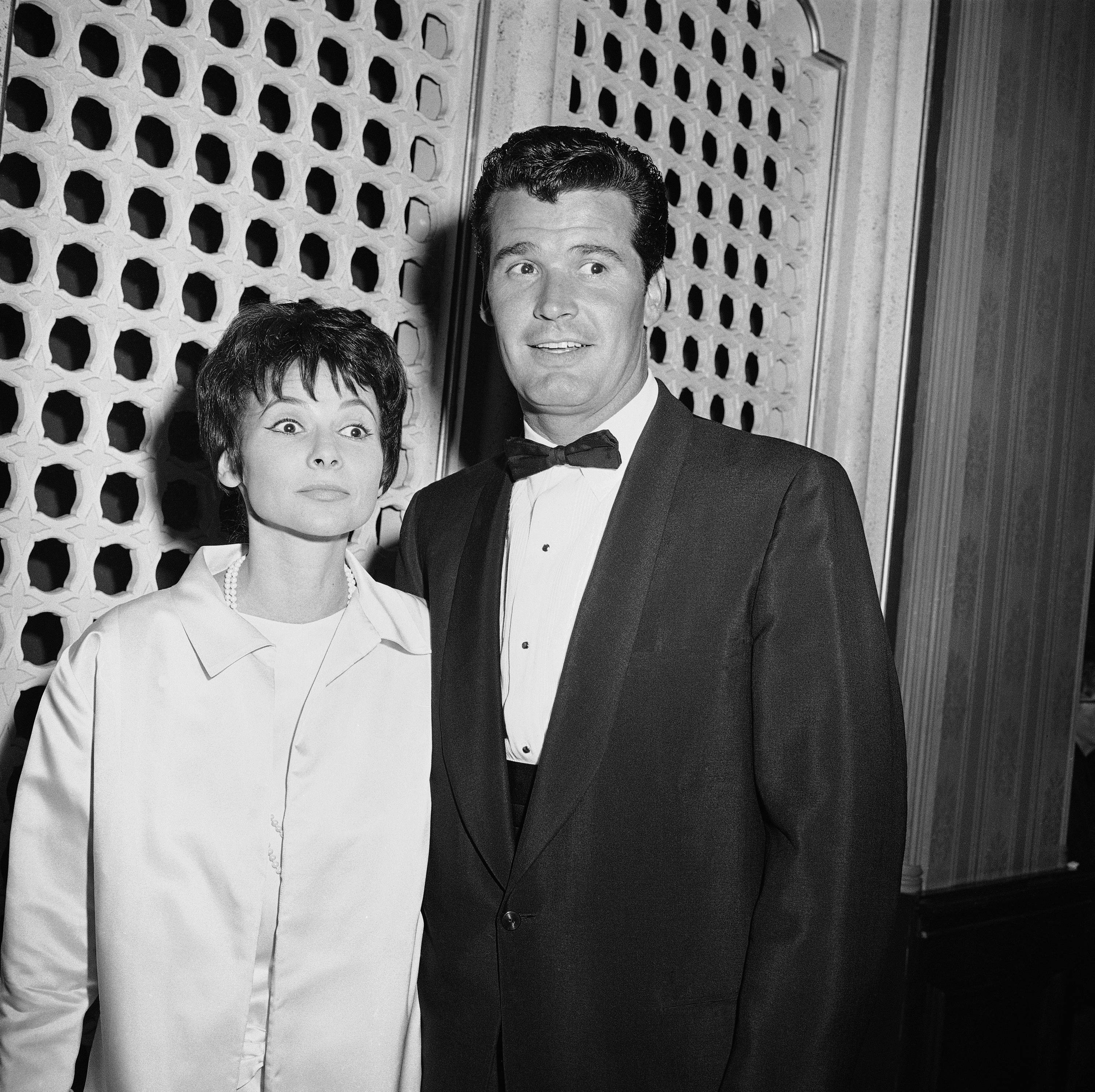 "Jim Garner of the TV program ?Maverick? arrives with his wife Lois Clarke at the Emmy Awards, in this April 15, 1958 file photo taken in Hollywood, Los Angeles, Calif. Actor James Garner, wisecracking star of TV's ""Maverick"" who went on to a long career on both small and big screen, died Saturday July 19, 2014 according to Los angeles police. He was 86."