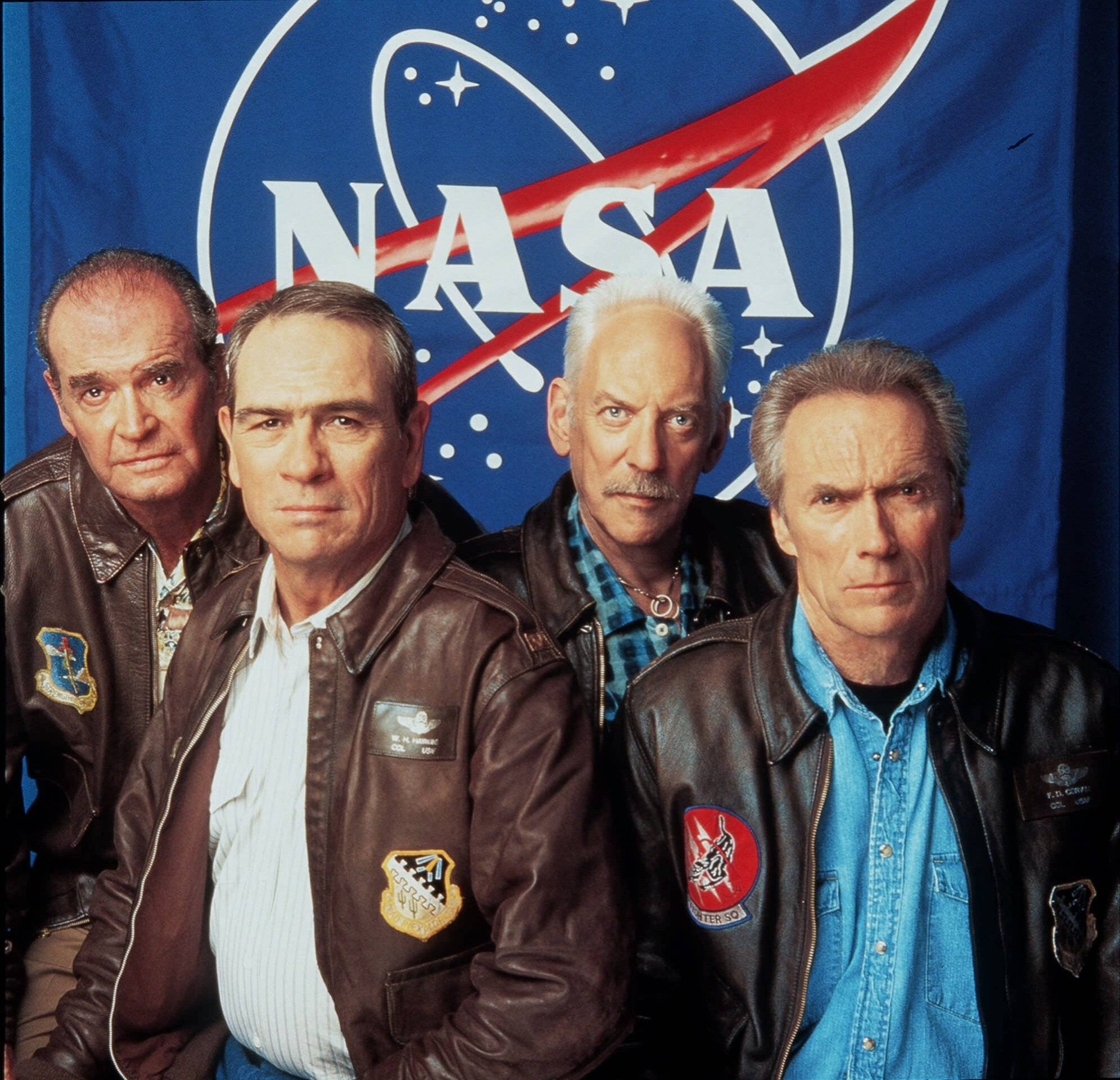 "From Left: James Garner, Tommy Lee Jones, Donald Sutherland and Clint Eastwood pose for Warner Brothers Pictures' ""Space Cowboys"" in this July 2000 file photo. Actor James Garner, wisecracking star of TV's ""Maverick"" who went on to a long career on both small and big screen, died Saturday July 19, 2014 according to Los angeles police. He was 86."