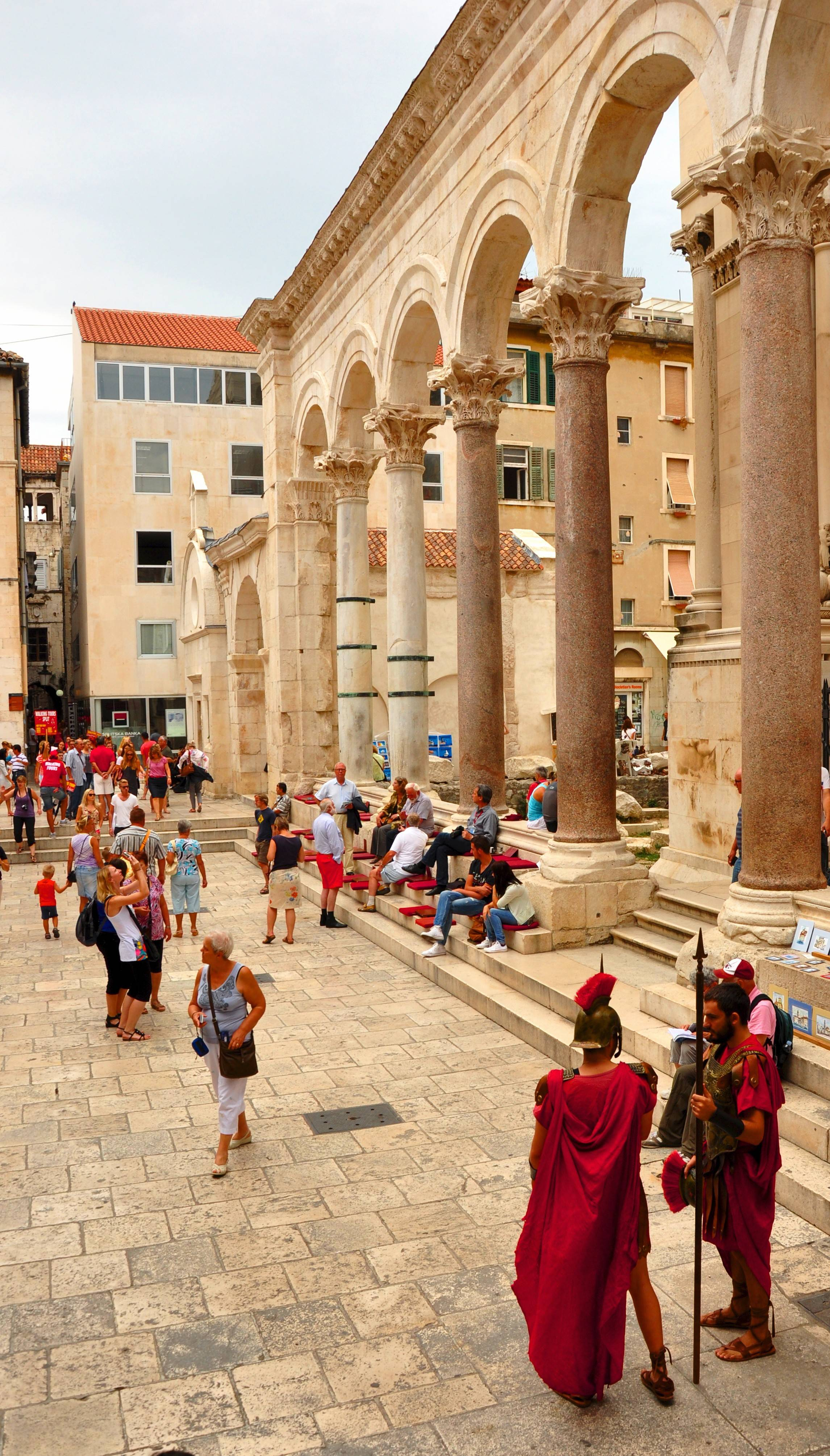 Roman columns flank the courtyard of Diocletian's Palace in Split, Croatia.