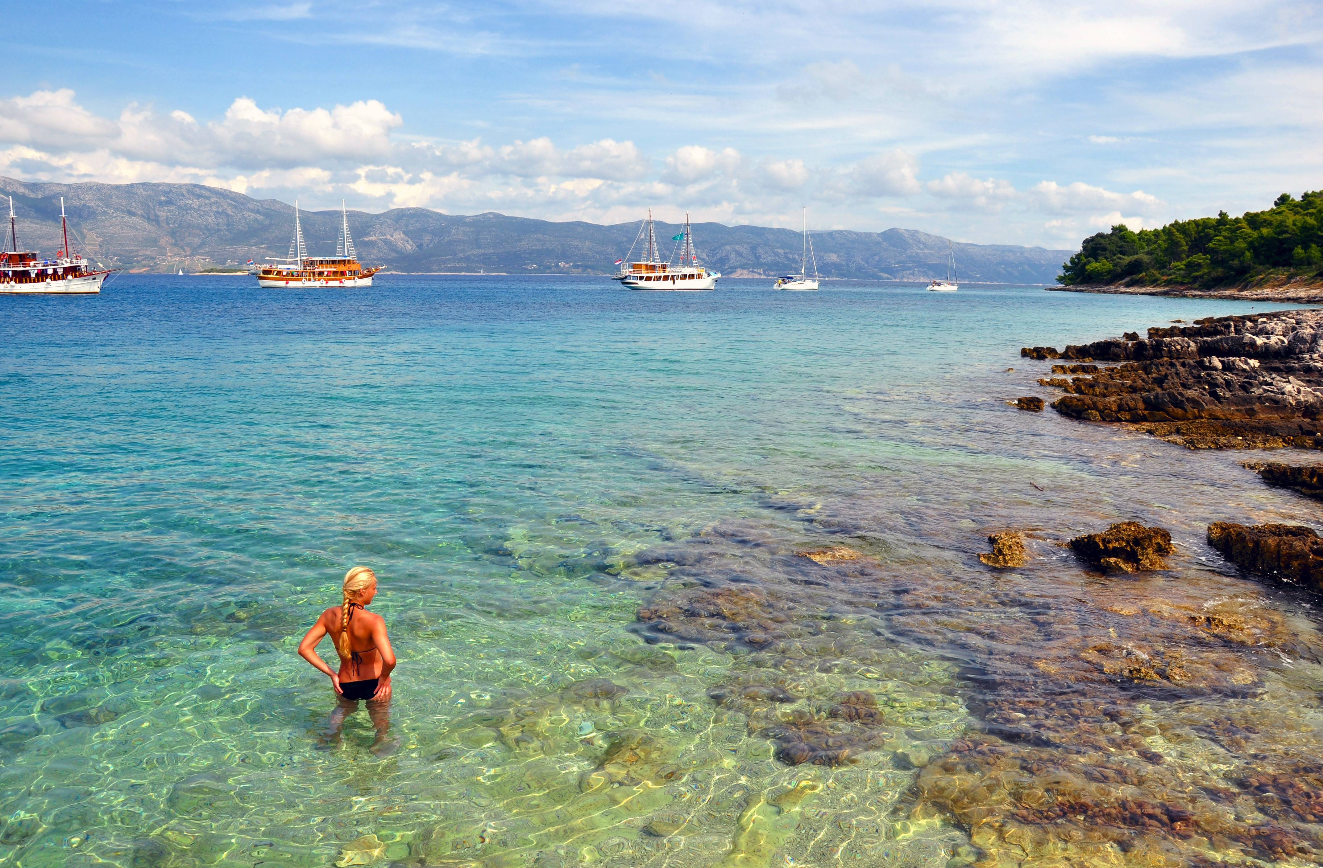 The clear waters off Lumbarda on Korcula Island in Croatia attract swimmers, scuba divers and boaters.