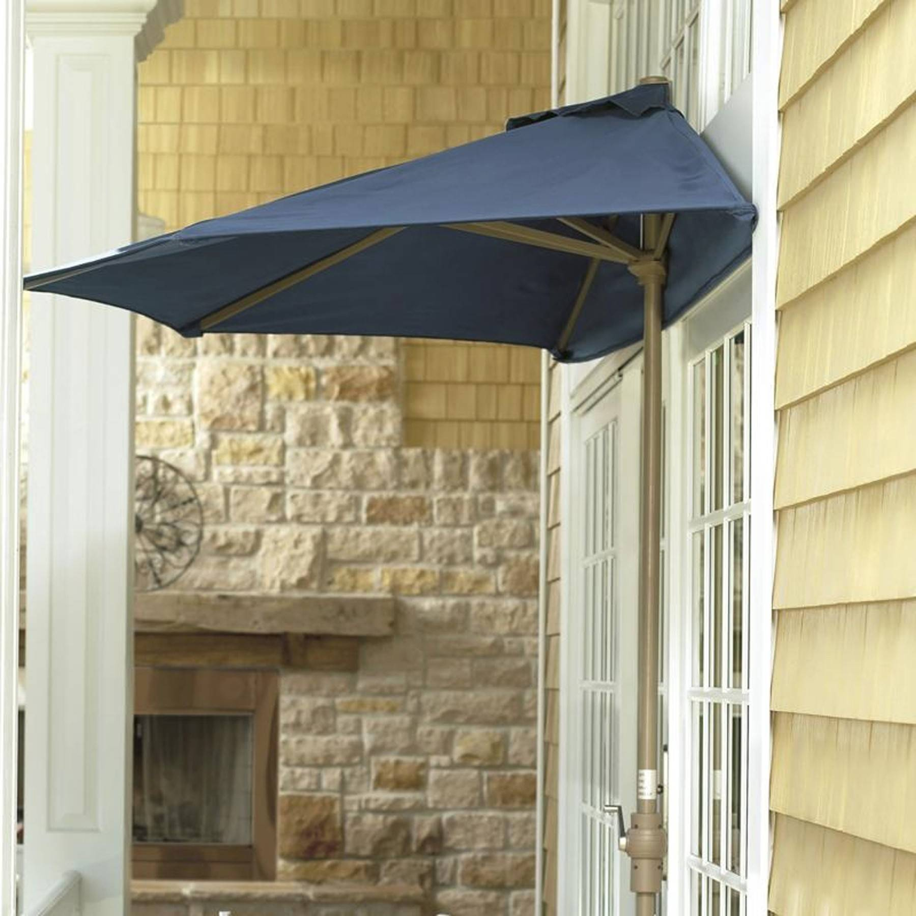 Shading is always important. In super-tight spaces, utilize the half umbrella style that stands right next to an exterior wall of your house.