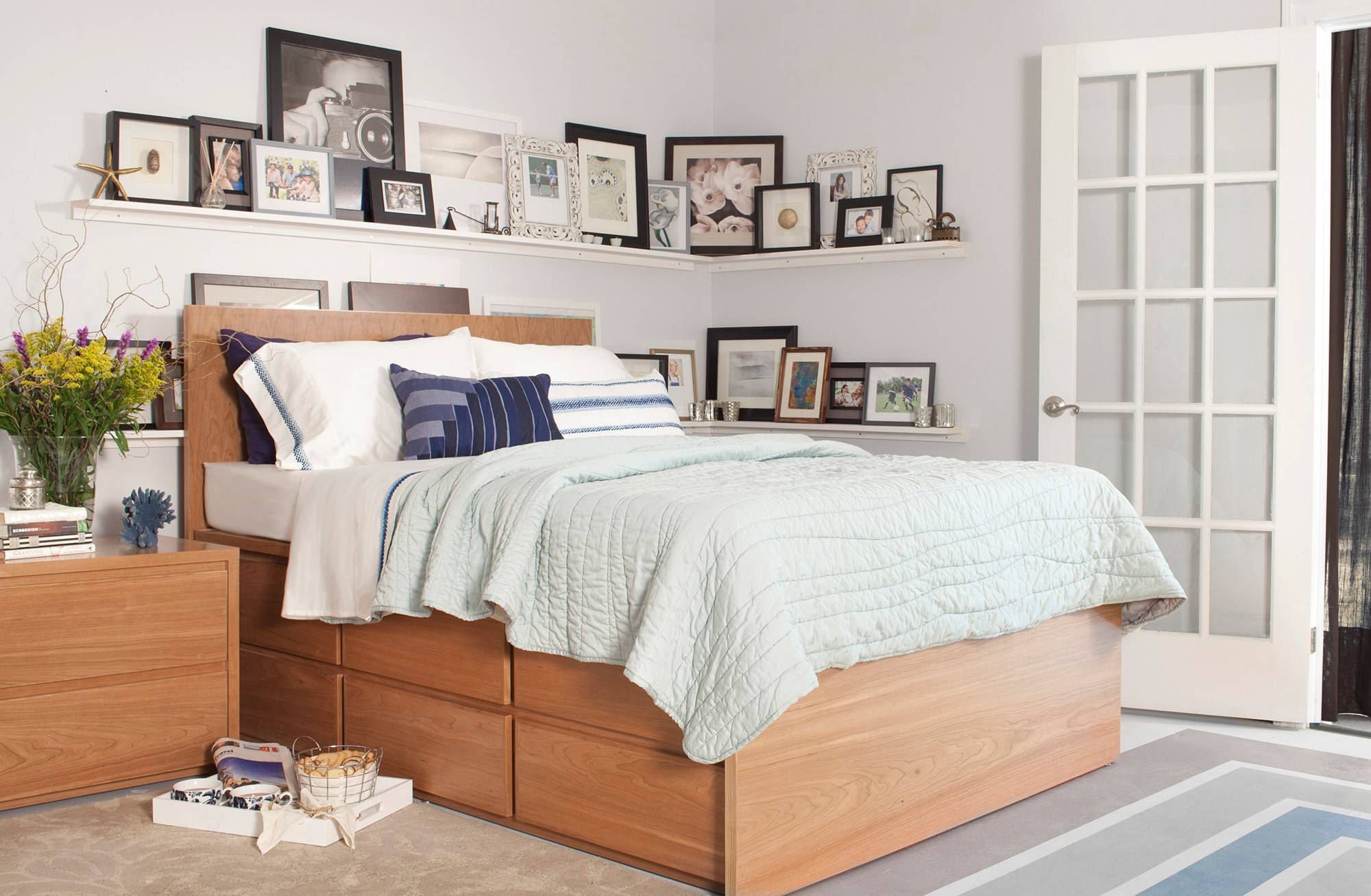 The Thompson queen storage bed, made in Brooklyn by UrbanGreen, features 12 drawers.