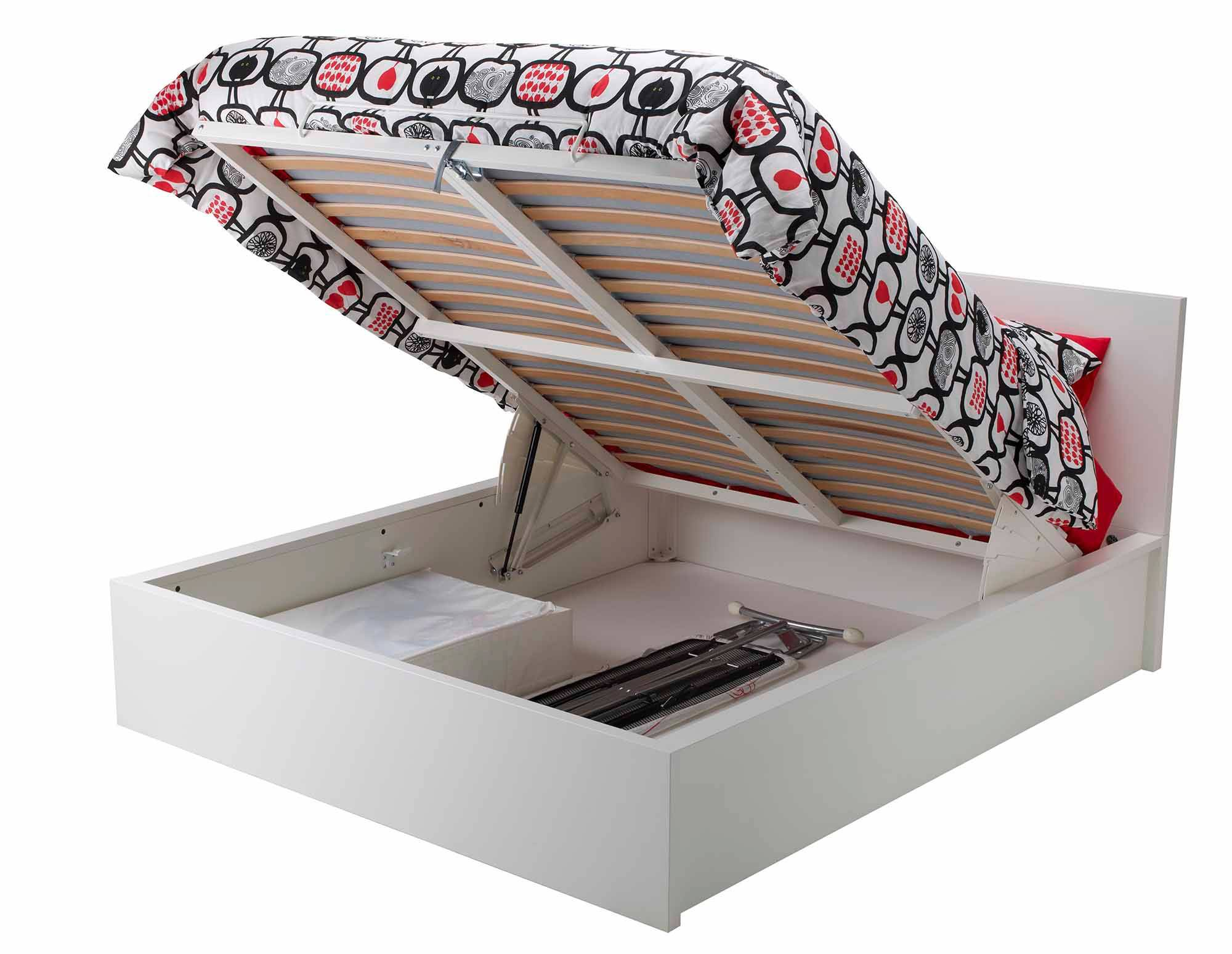 A storage bed from IKEA's popular Malm line, which lifts to open rather than having drawers. The store's carries two lightweight storage beds that cost between $250 and $500.