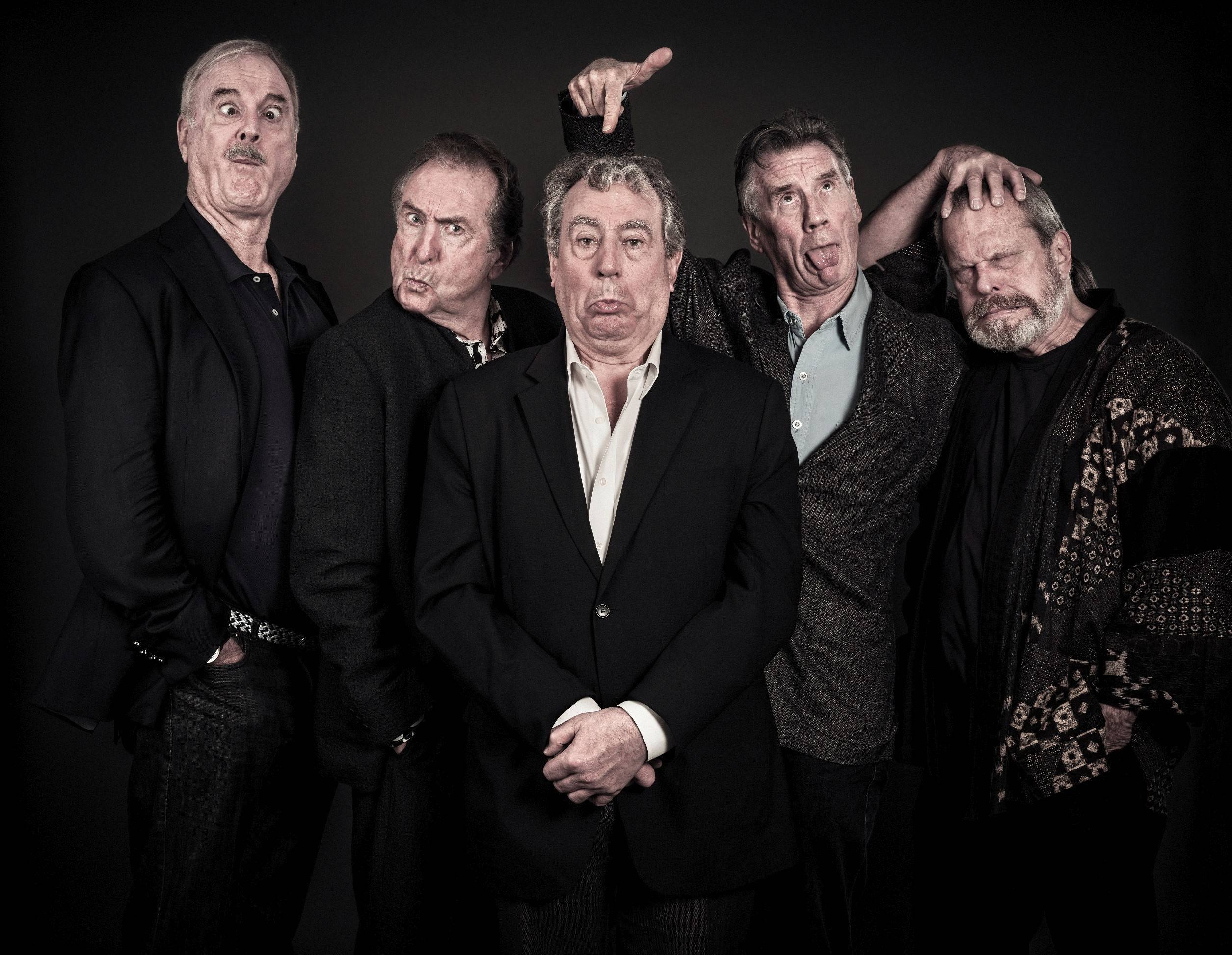 "From left, John Cleese, Eric Idle, Terry Jones, Michael Palin and Terry Gilliam of the legendary comedy group Monty Python. Their London farewell show, ""Monty Python Live (mostly): One Down, Five to Go,"" is screened at select movie theaters on Sunday, July 20 and on Wednesday and Thursday, July 23 and 24."