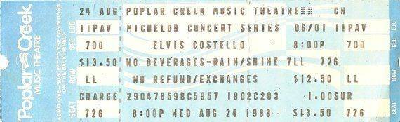 A ticket stub from the old Poplar Creek Music Theatre in Hoffman Estates.