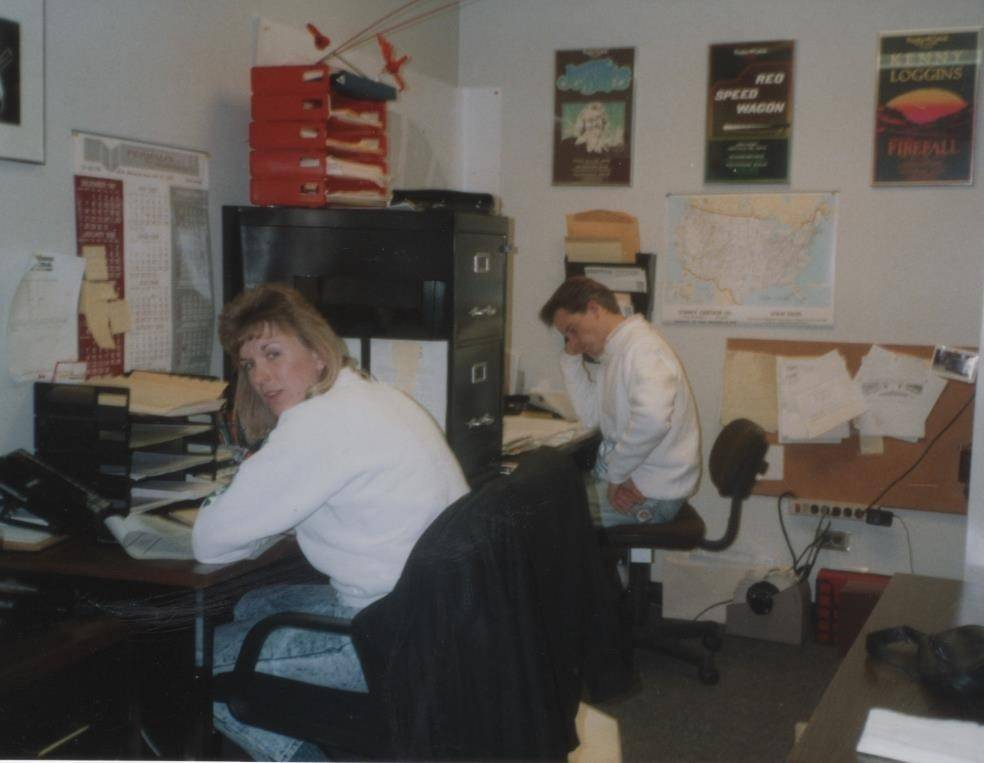 Lynn Murrin Cannon and Michael Lemke work in the group sales office at the former Poplar Creek Music Theatre in Hoffman Estates.