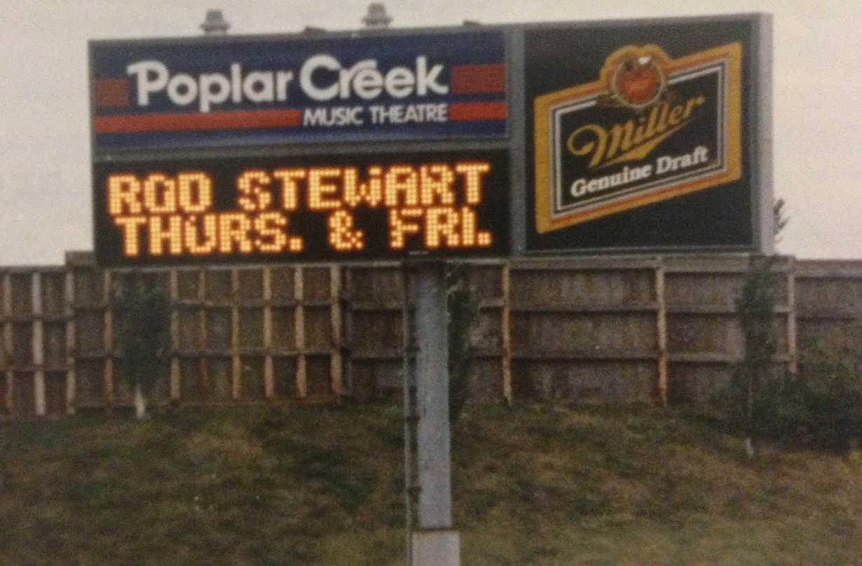 The Poplar Creek Music Theatre in Hoffman Estates offered shows from 1980 until 1994. This Sept. 21, 1991 image highlights the marquee with an upcoming show by Rod Stewart.