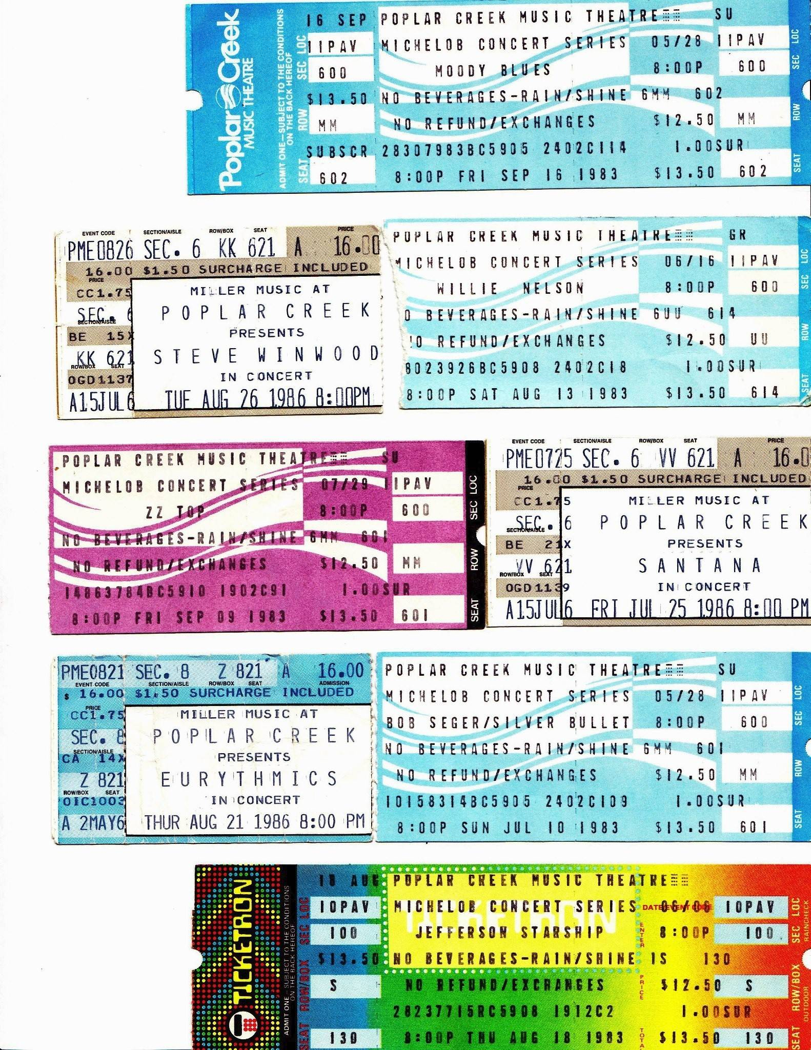The colorful ticket stubs from the former Poplar Creek Music Theatre in Hoffman Estates.
