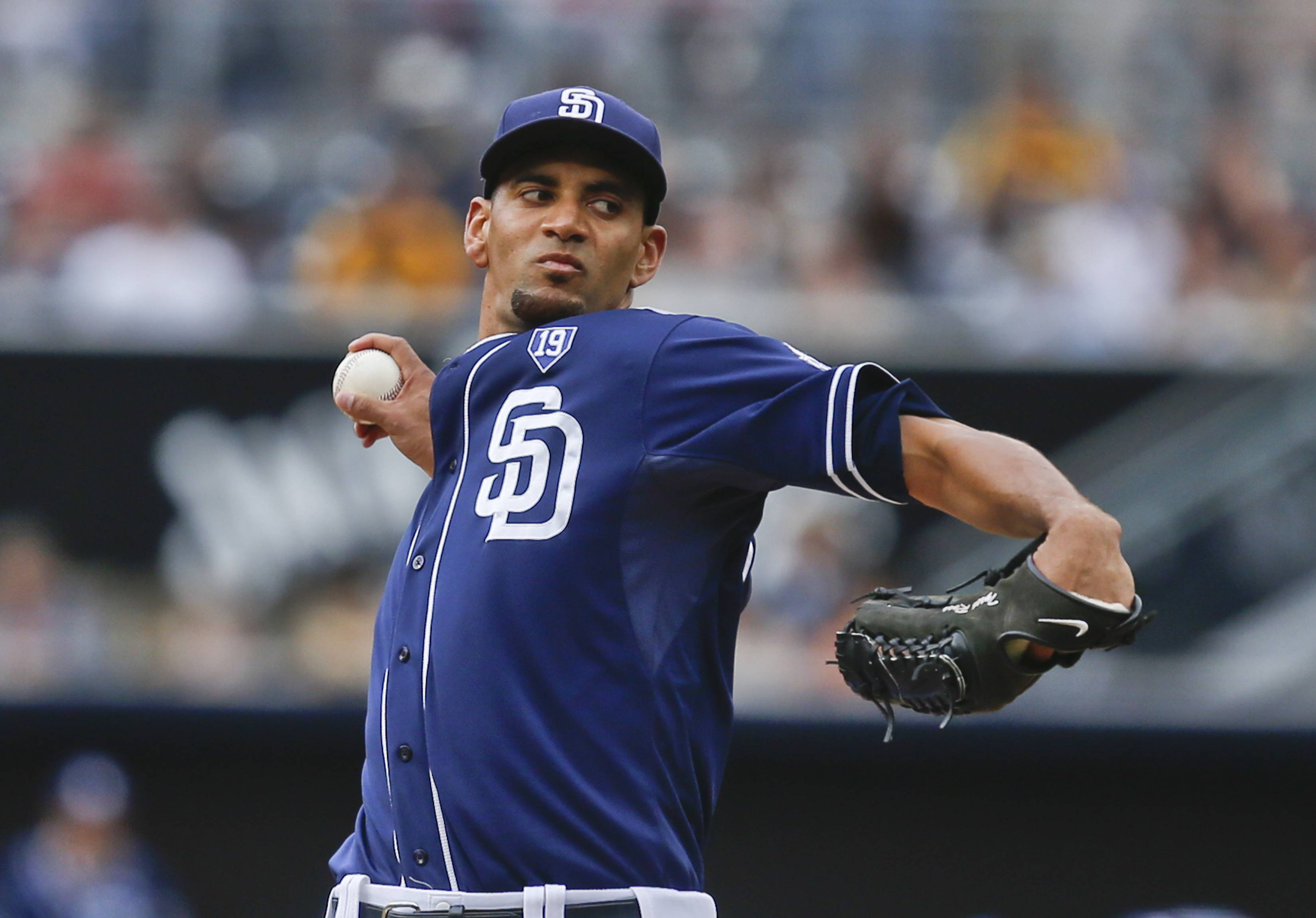 San Diego Padres starting pitcher Tyson Ross throws against the New York Mets in the first inning of a baseball game Saturday, July 19, 2014, in San Diego.