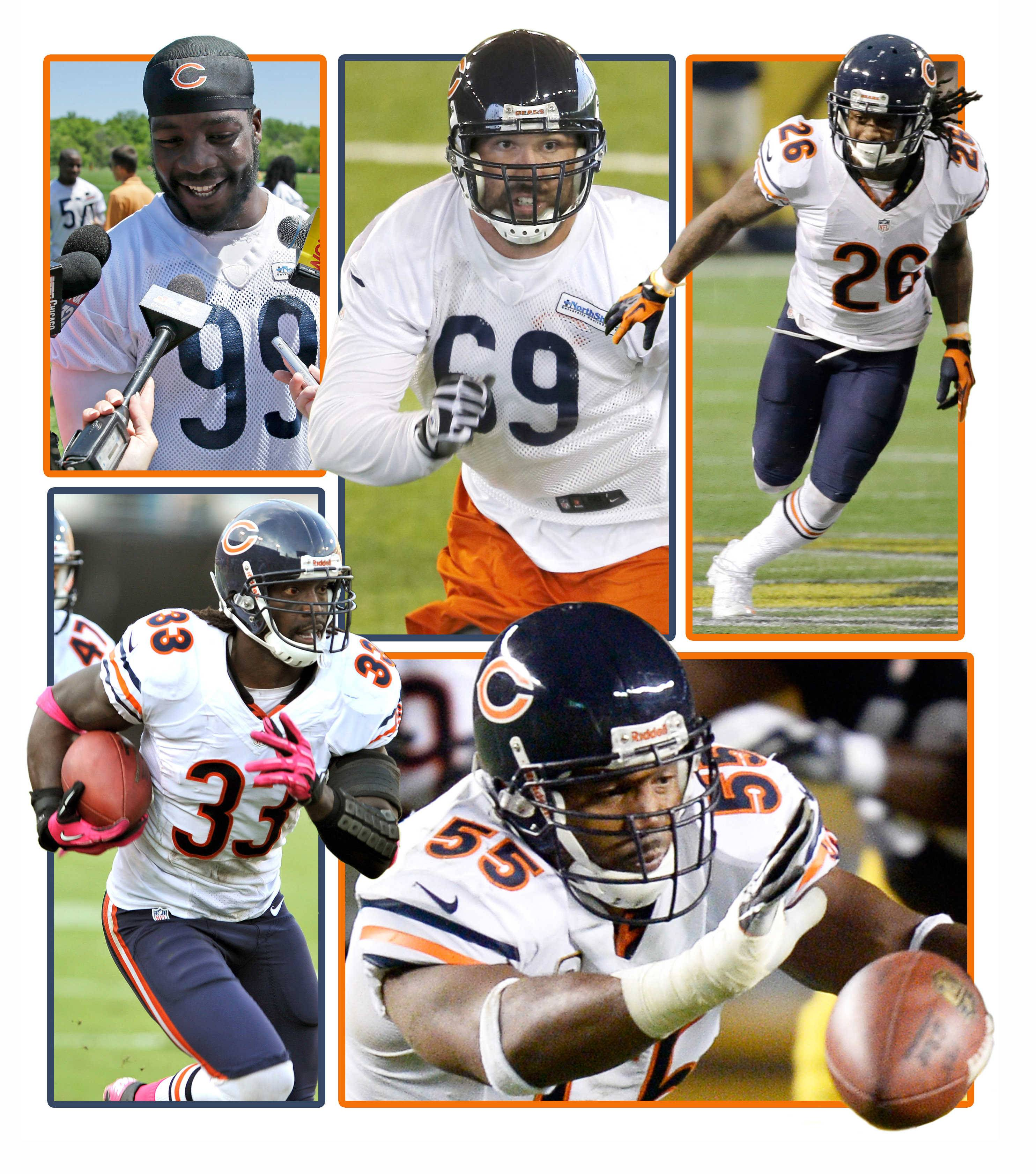 The Bears defense will be a mix of new faces and familiar this season. Clockwise from upper left, Lamarr Houston, Jared Allen, Tim Jennings, Lance Briggs, and Charles Tillman are some key the players for the Bears.