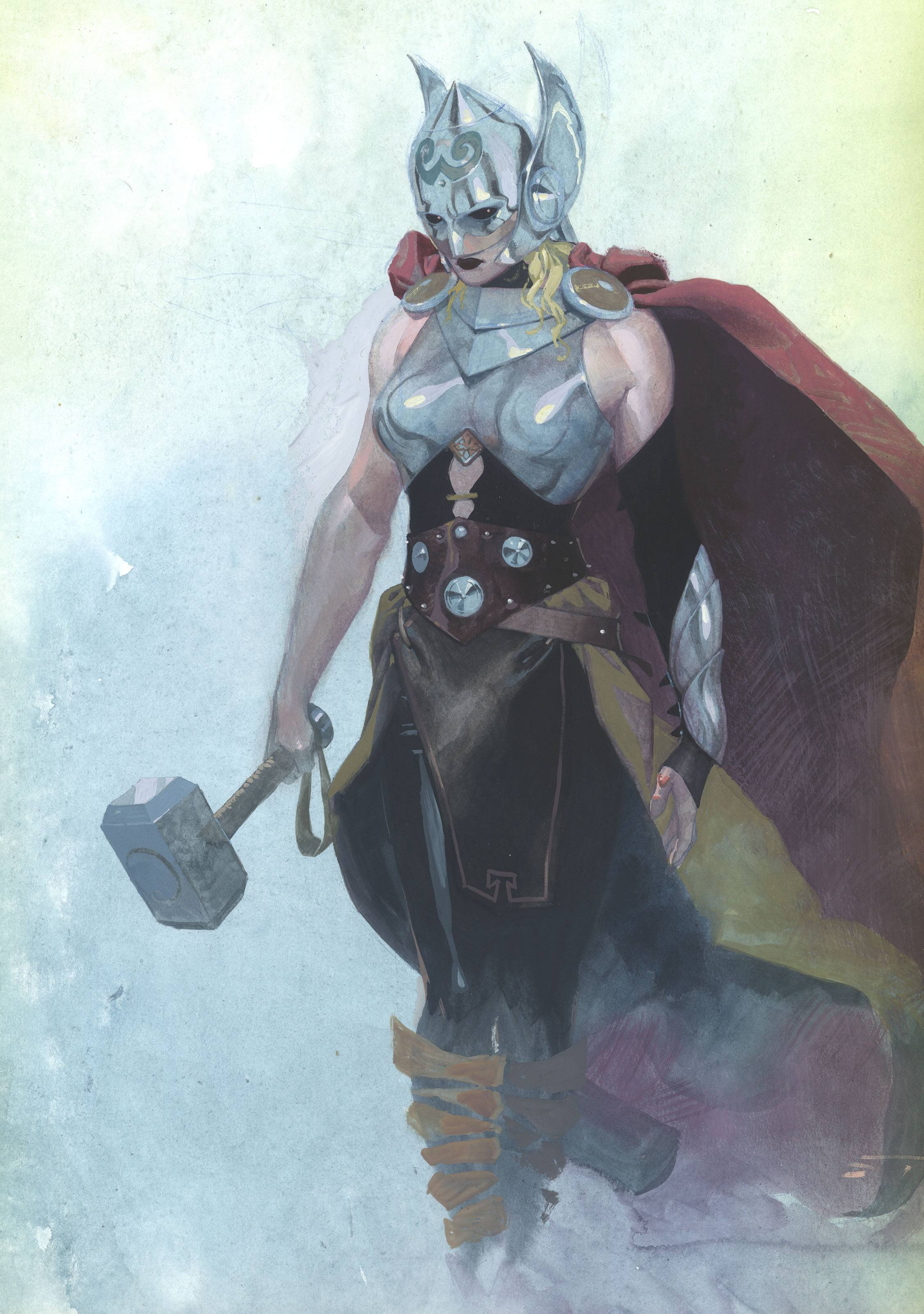 "The new Thor was debuted on ""The View"" where artwork was revealed showcasing a buxom blonde clad in a caped costume and brandishing the trademark hammer. Series writer Jason Aaron said in a statement that ""This is not She-Thor. This is not Lady Thor. ... This is THE Thor."""