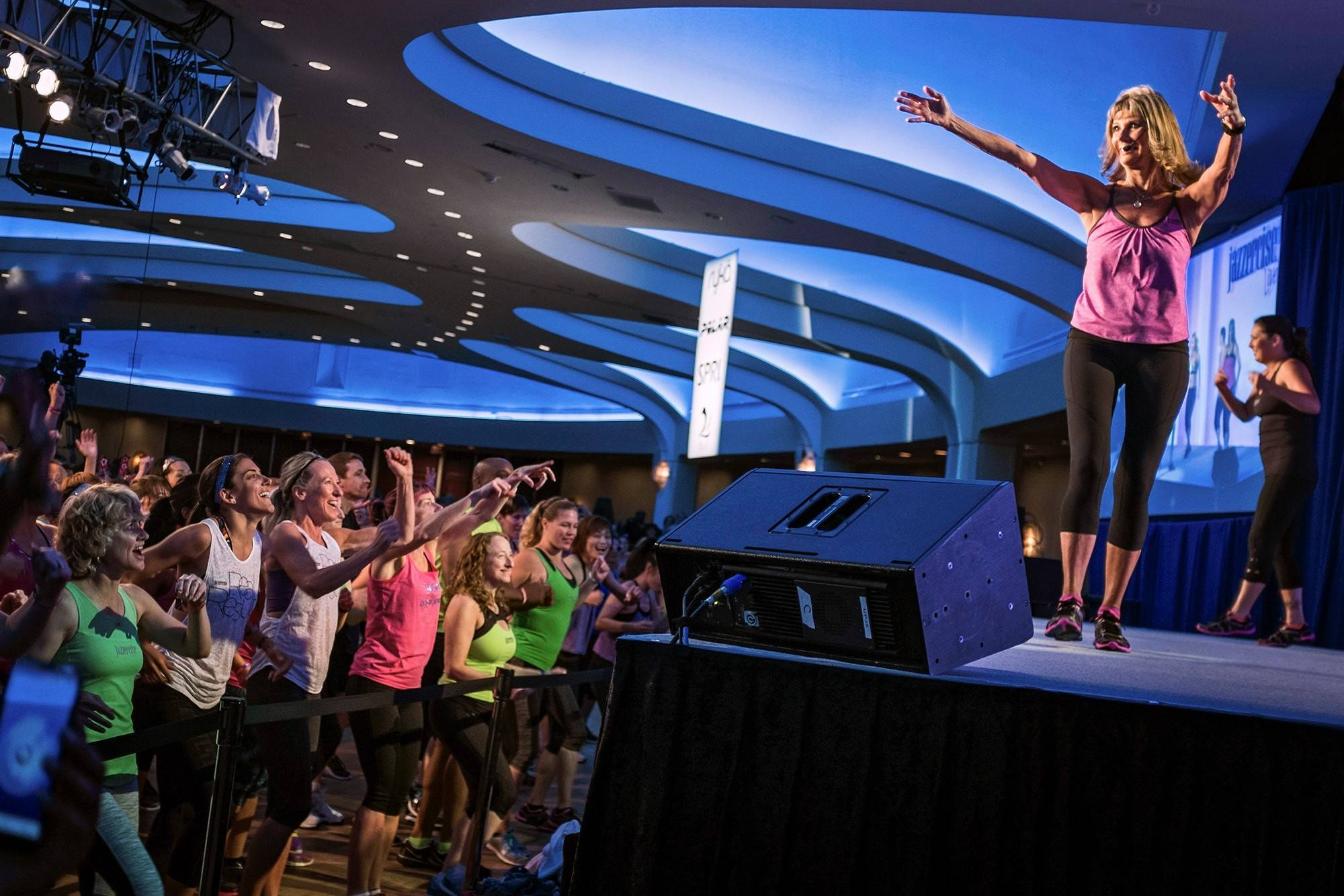 Judi Sheppard Missett, 70, the founder of Jazzercise, leads a workout. Missett started teaching her dance-based workout program 45 years ago in the Chicago area.