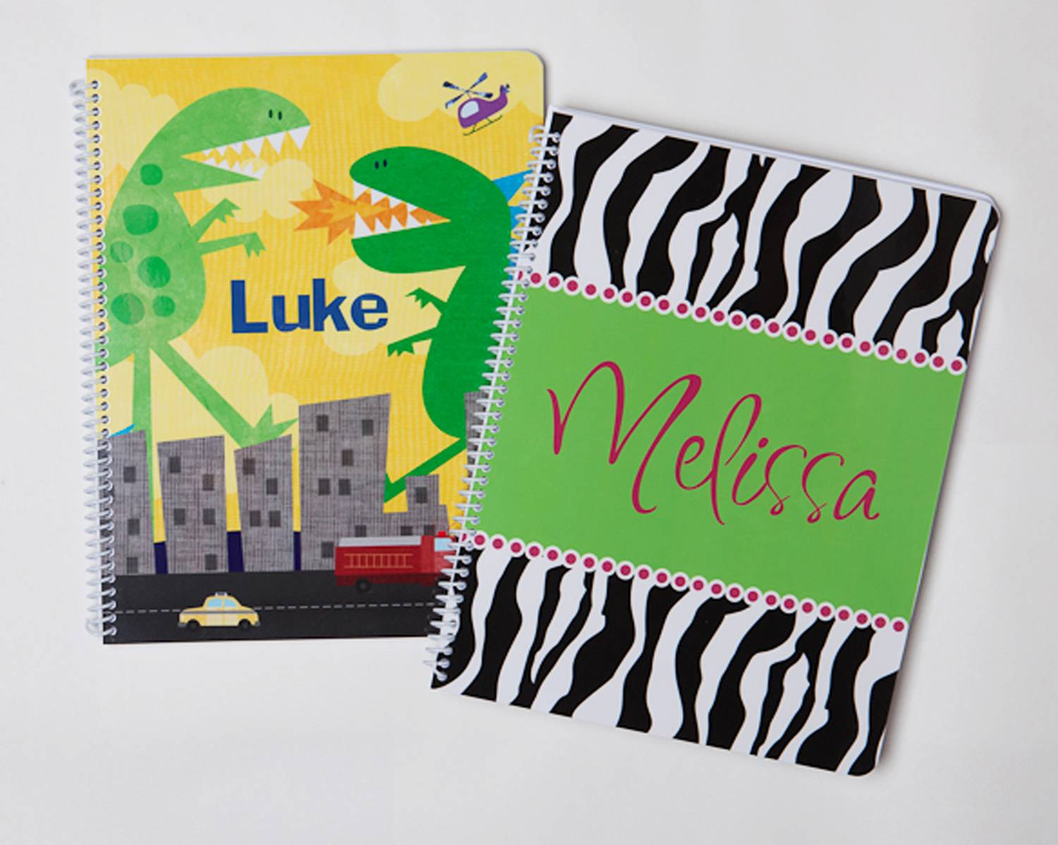 Frecklebox's personalized notebooks for school children include fun dinosaur and animal print patterns.